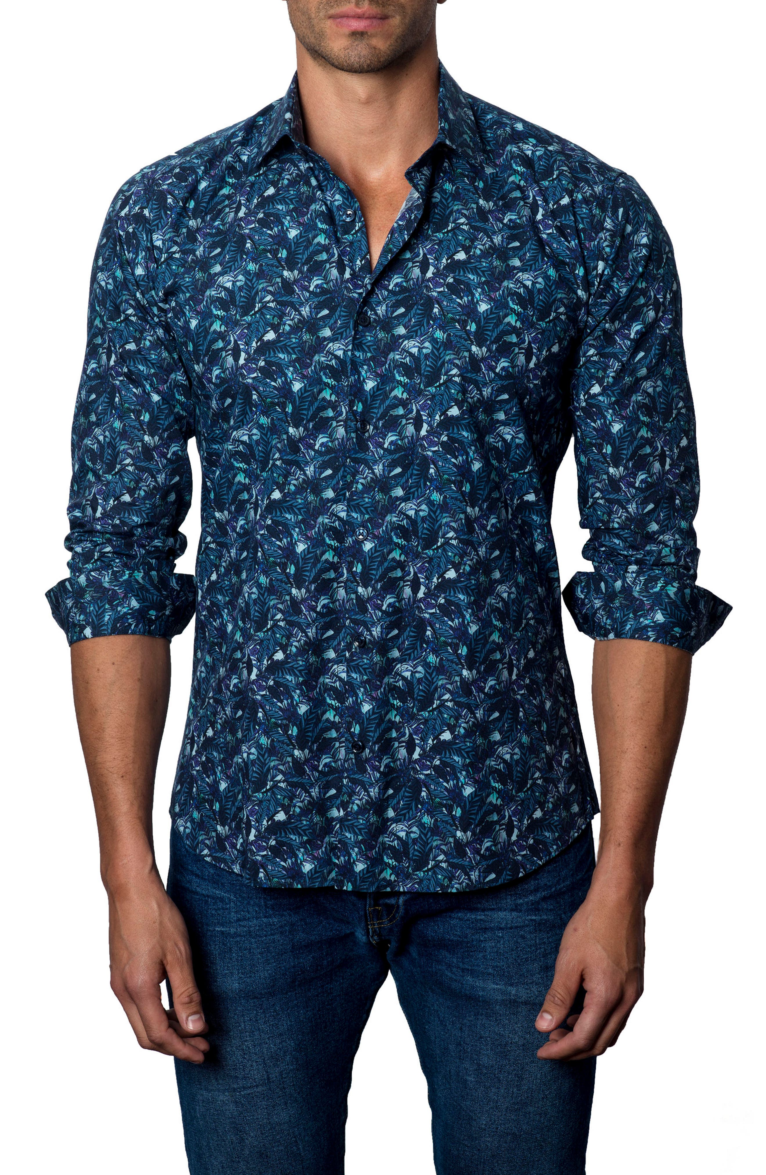 Floral Print Sport Shirt,                             Main thumbnail 1, color,                             Navy Leafs