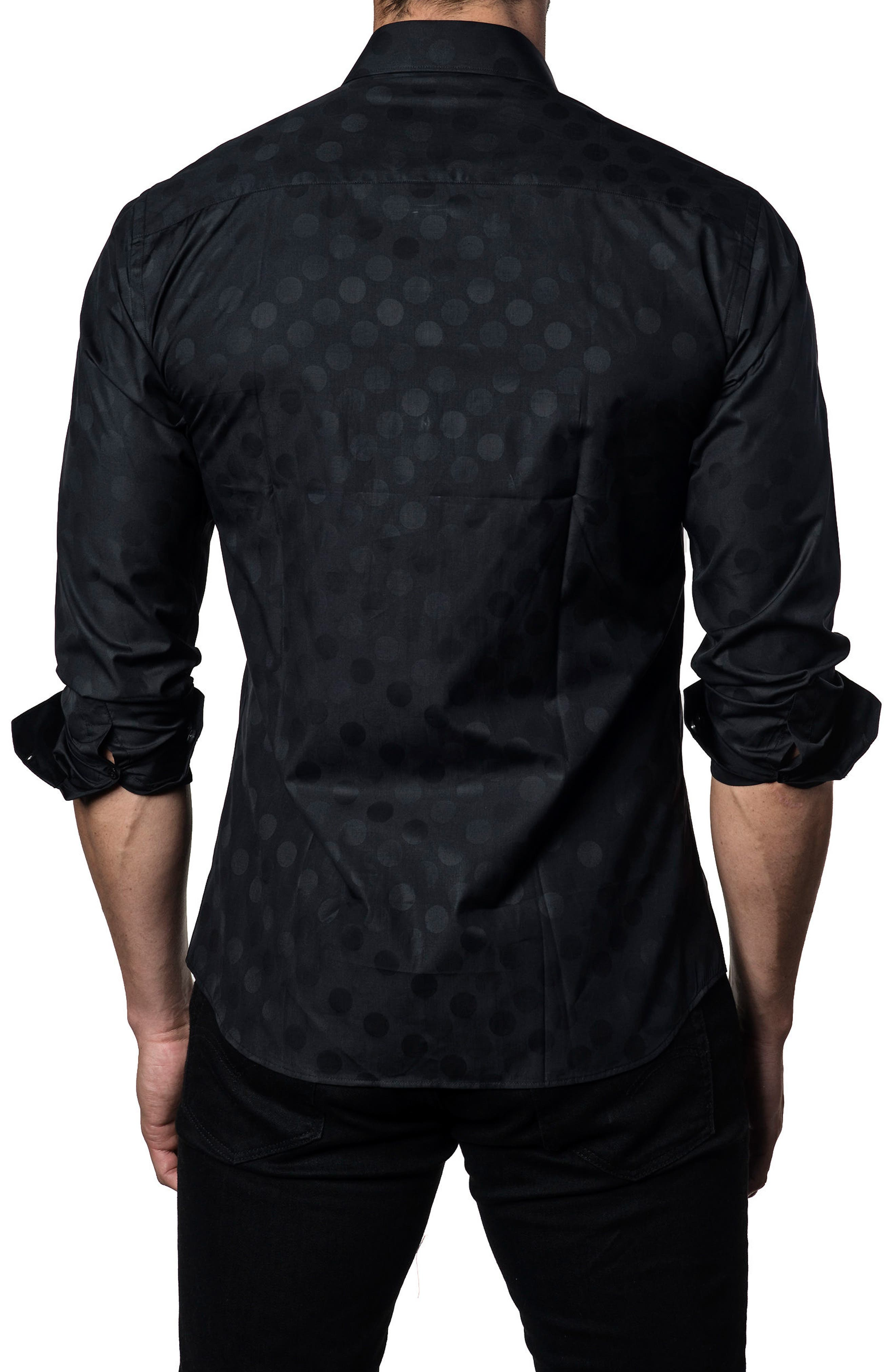 Dot Print Sport Shirt,                             Alternate thumbnail 2, color,                             Black Polka Dot Jacquard