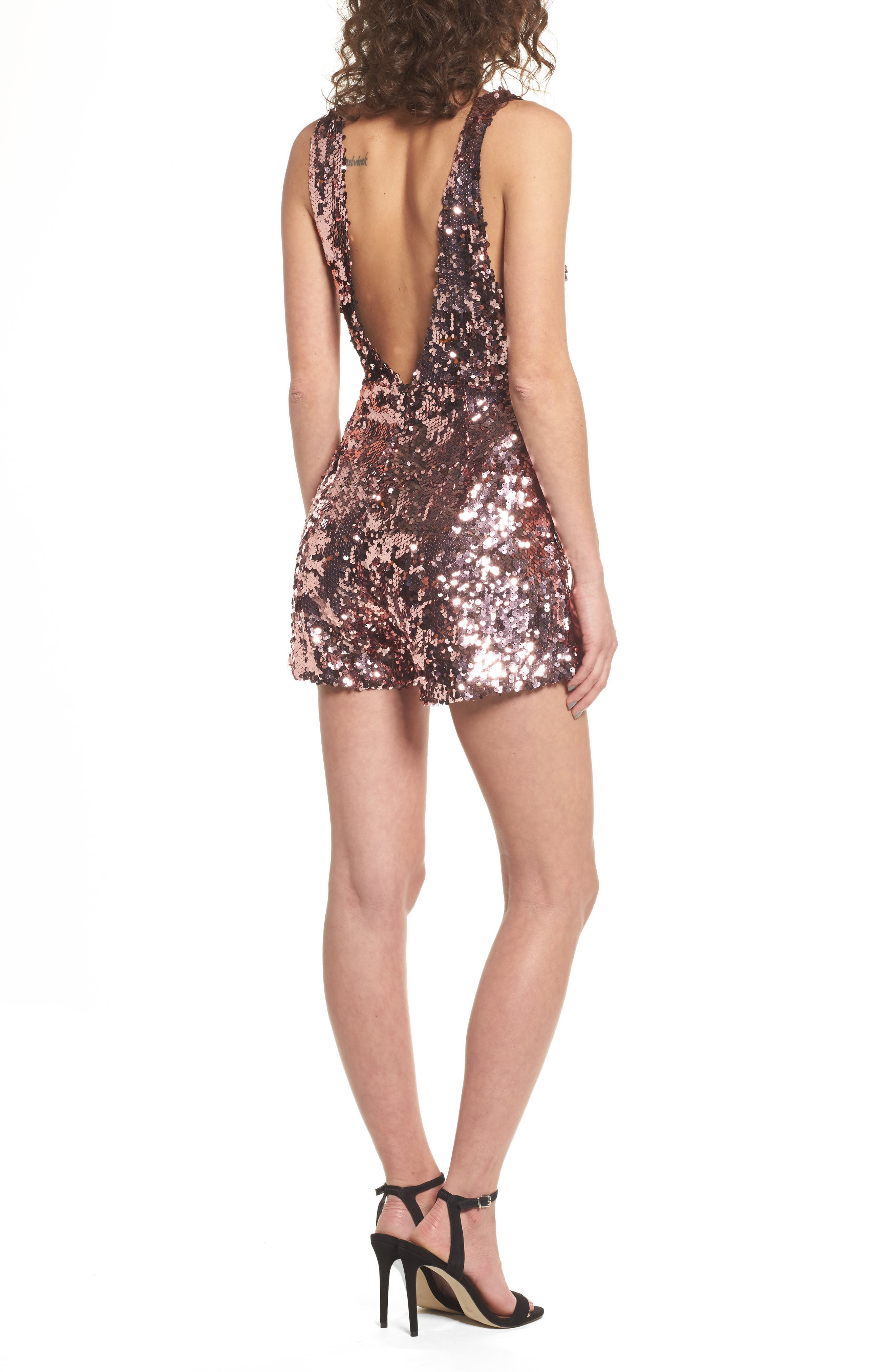 Sequin Romper,                             Alternate thumbnail 3, color,                             Pink