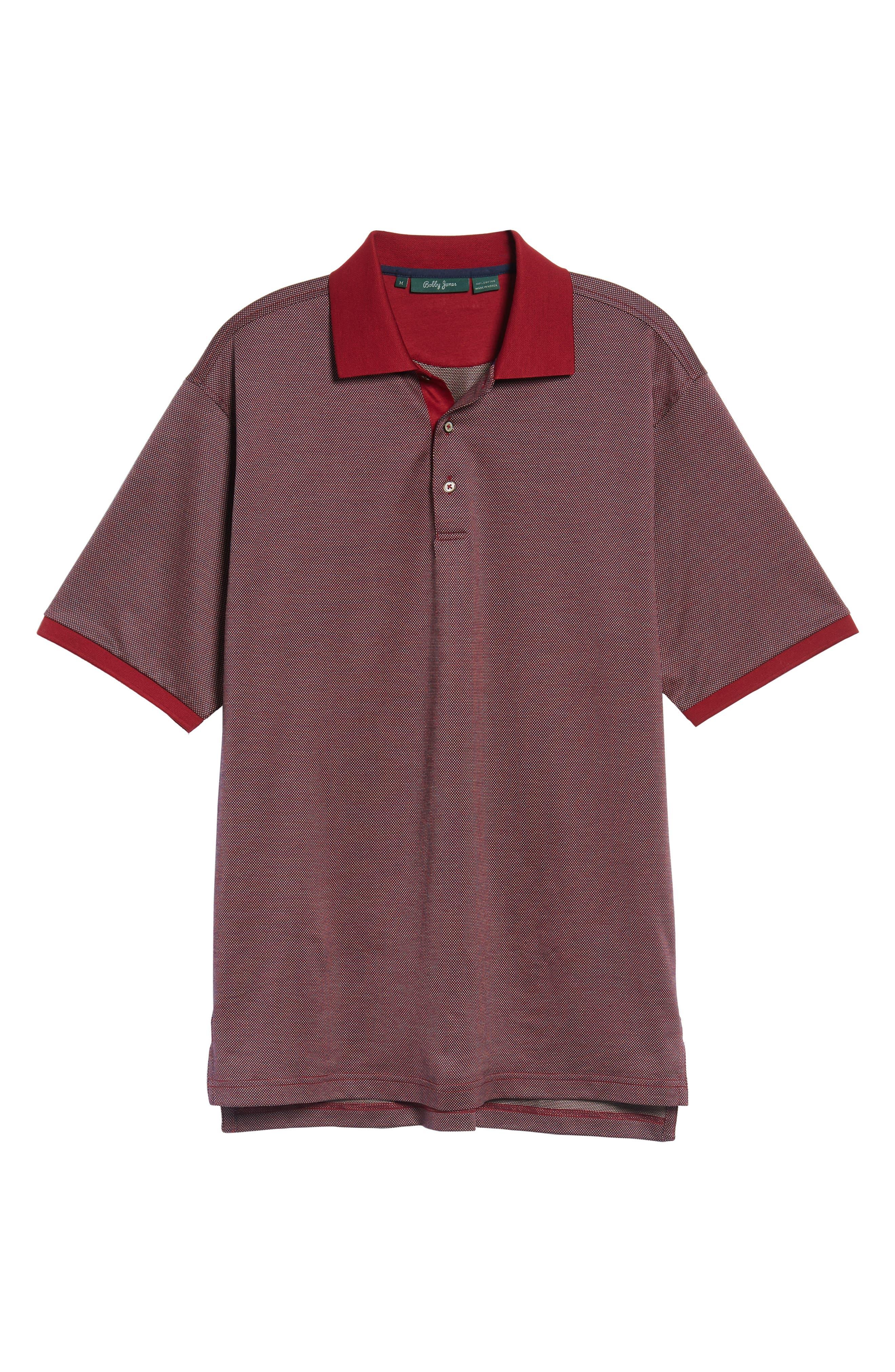 Verde Jacquard Mercerized Cotton Polo,                             Main thumbnail 1, color,                             Brick Red