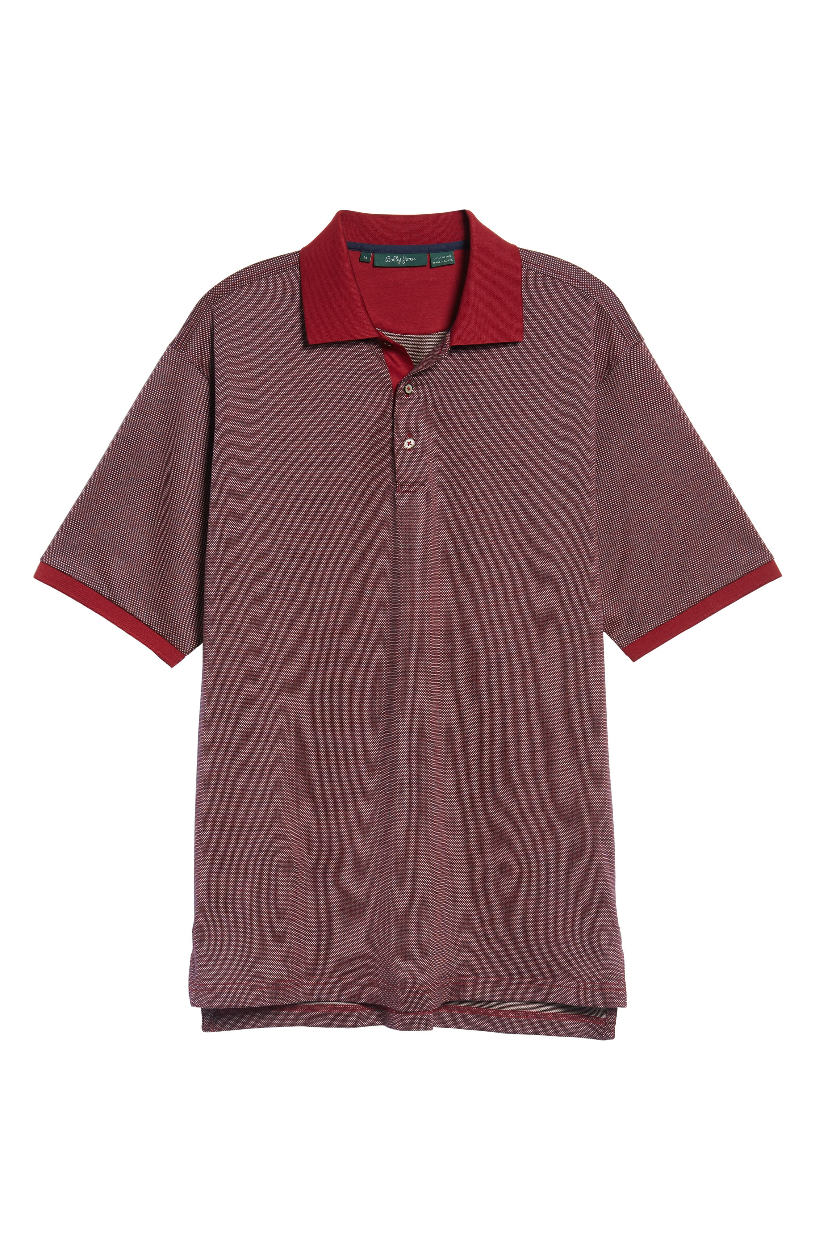 Verde Jacquard Mercerized Cotton Polo,                         Main,                         color, Brick Red