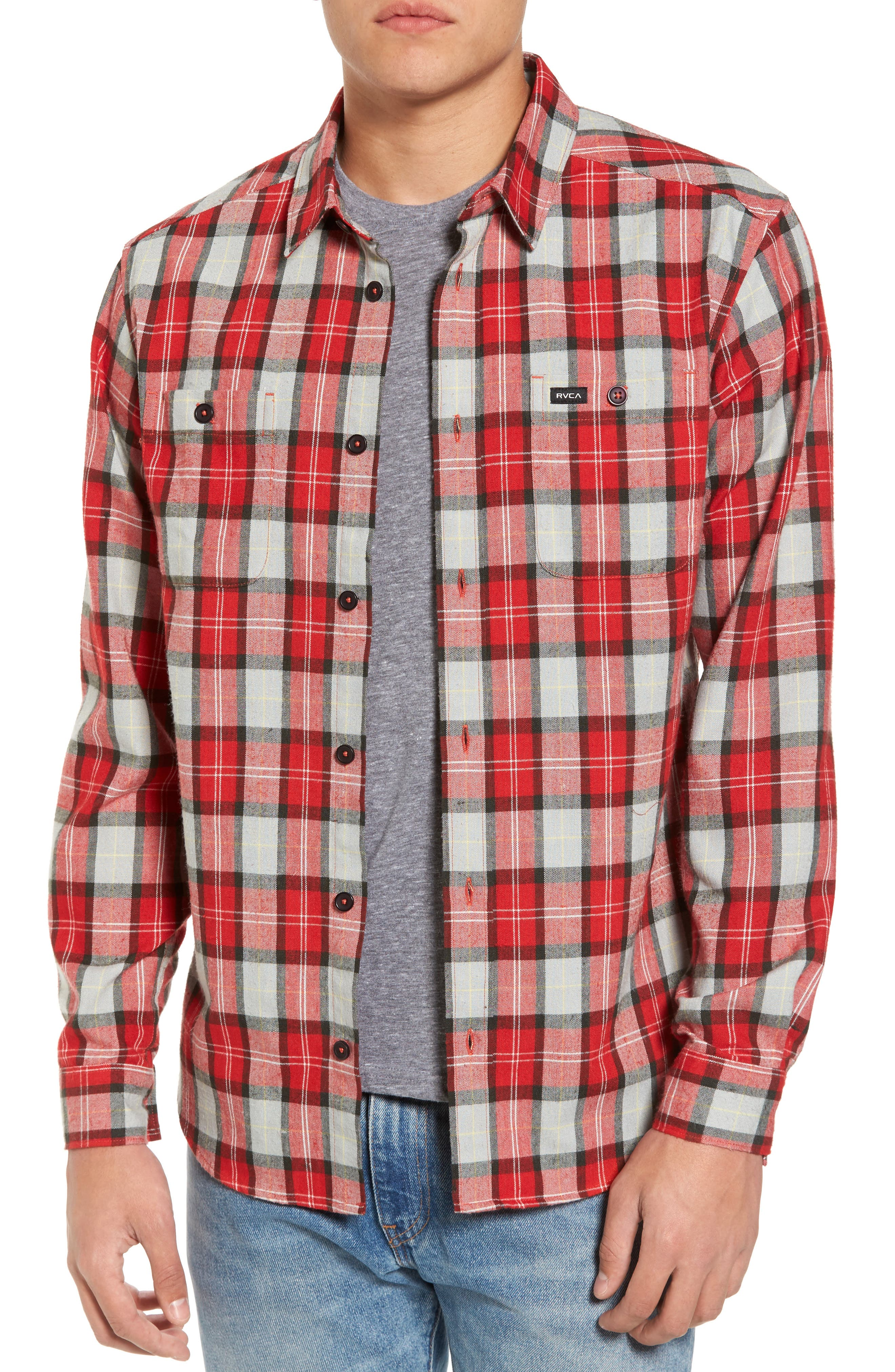 Bone Flannel Shirt,                         Main,                         color, Pompei Red