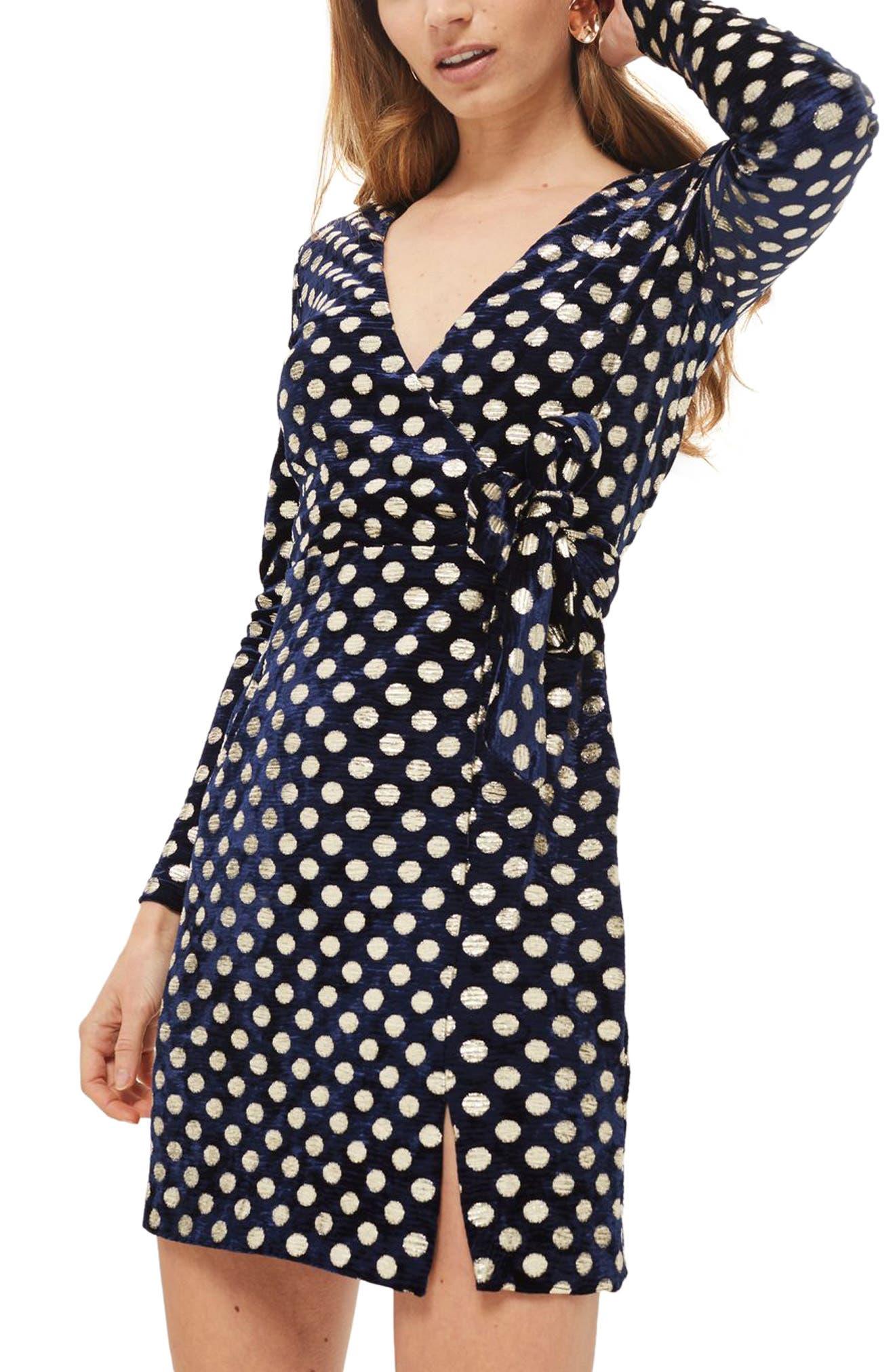 Foil Spot Wrap Dress,                             Main thumbnail 1, color,                             Navy Blue Multi