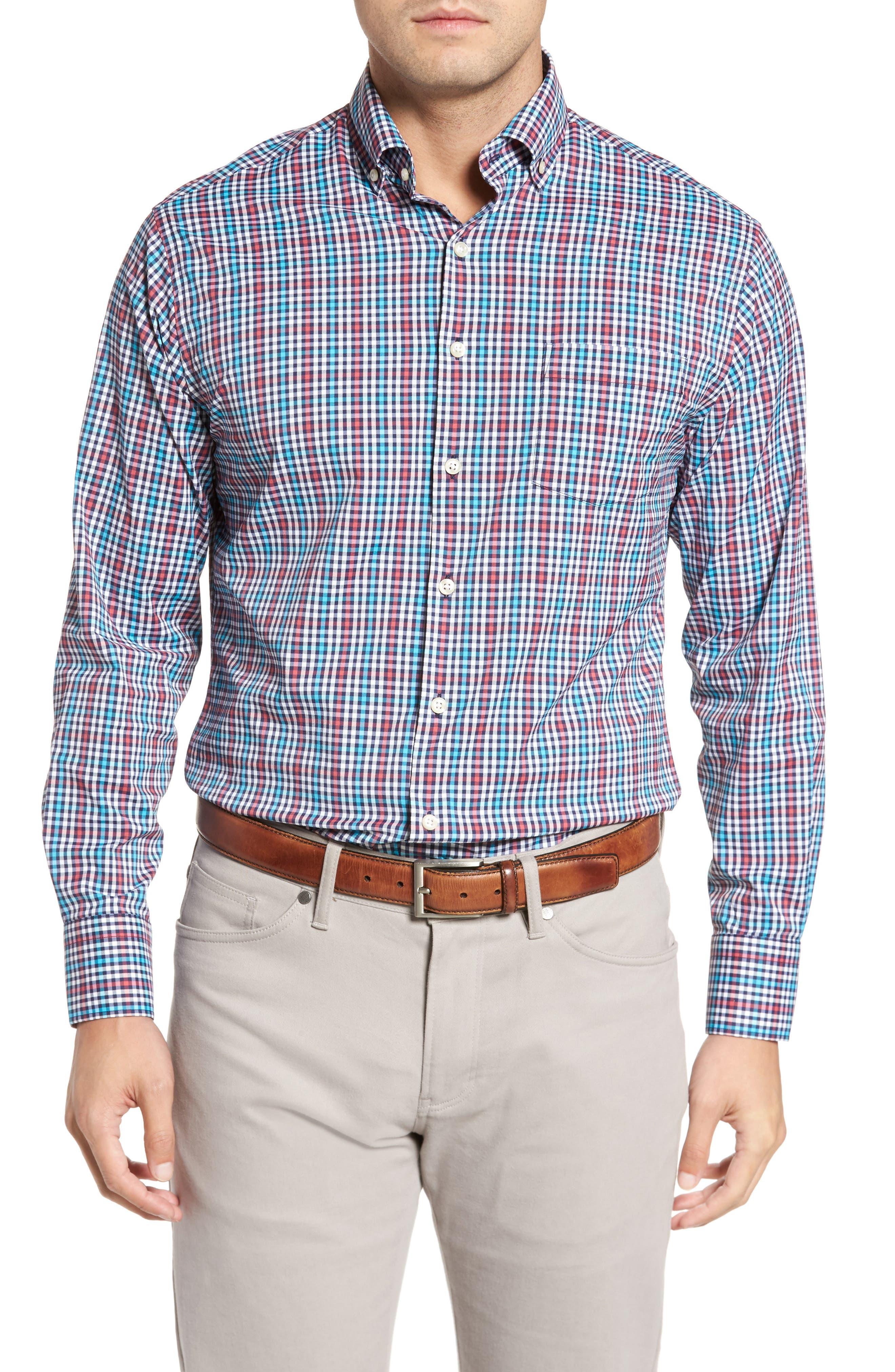 Alternate Image 1 Selected - Peter Millar Collier Regular Fit Plaid Performance Sport Shirt