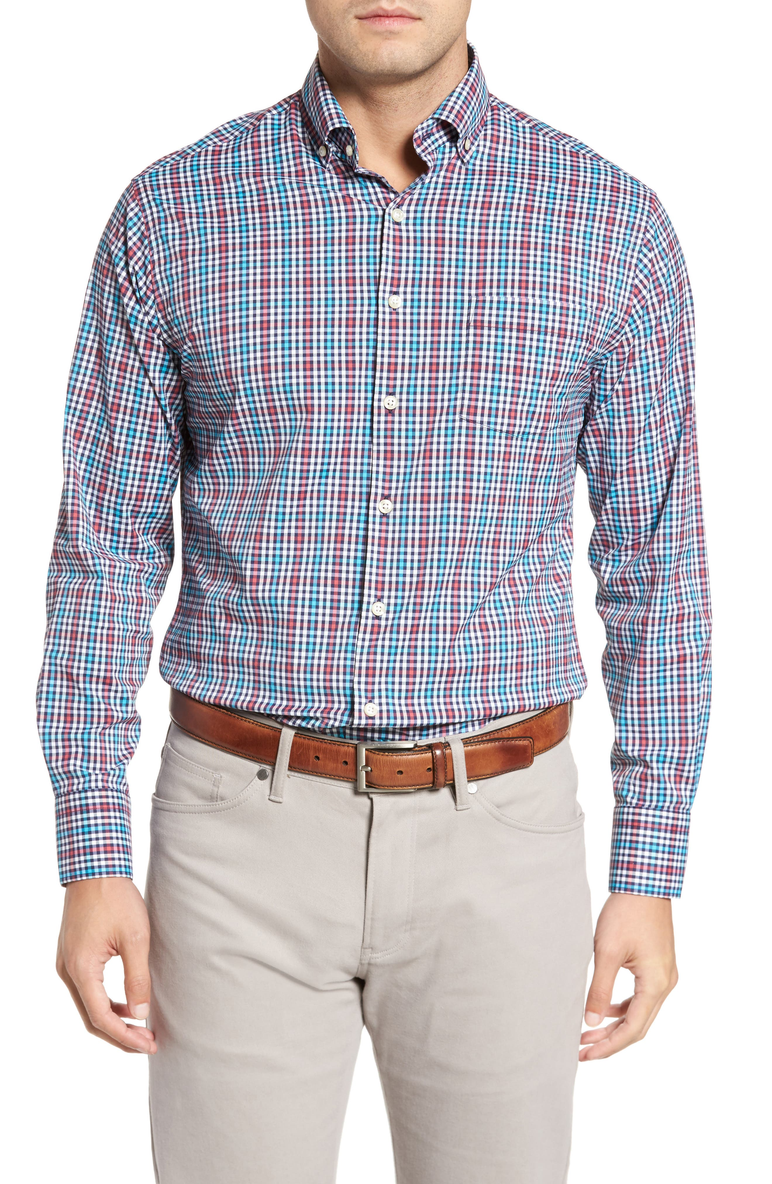 Collier Regular Fit Plaid Performance Sport Shirt,                         Main,                         color, Cape Red
