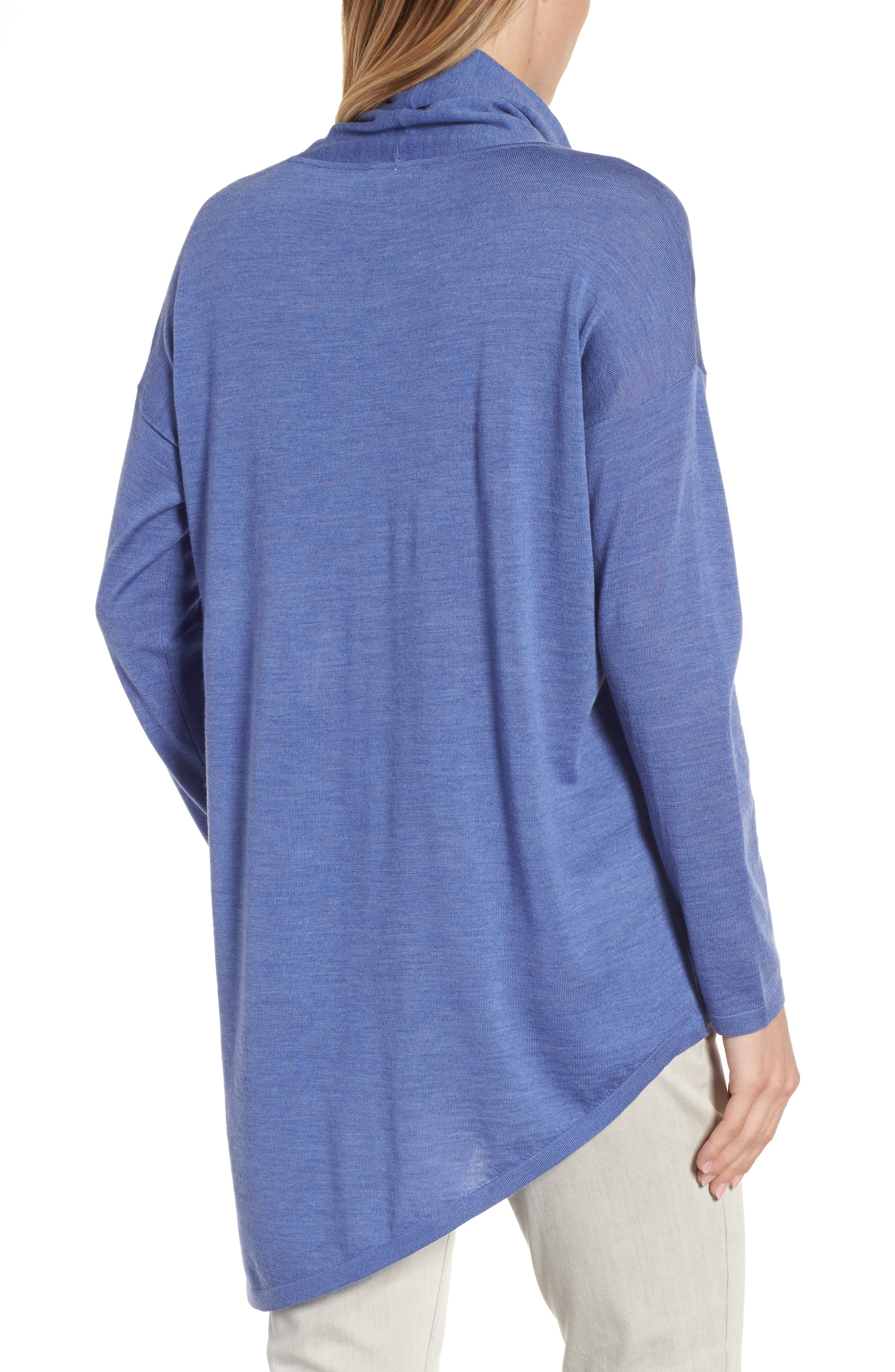 Asymmetrical Merino Wool Sweater,                             Alternate thumbnail 2, color,                             Periwinkle