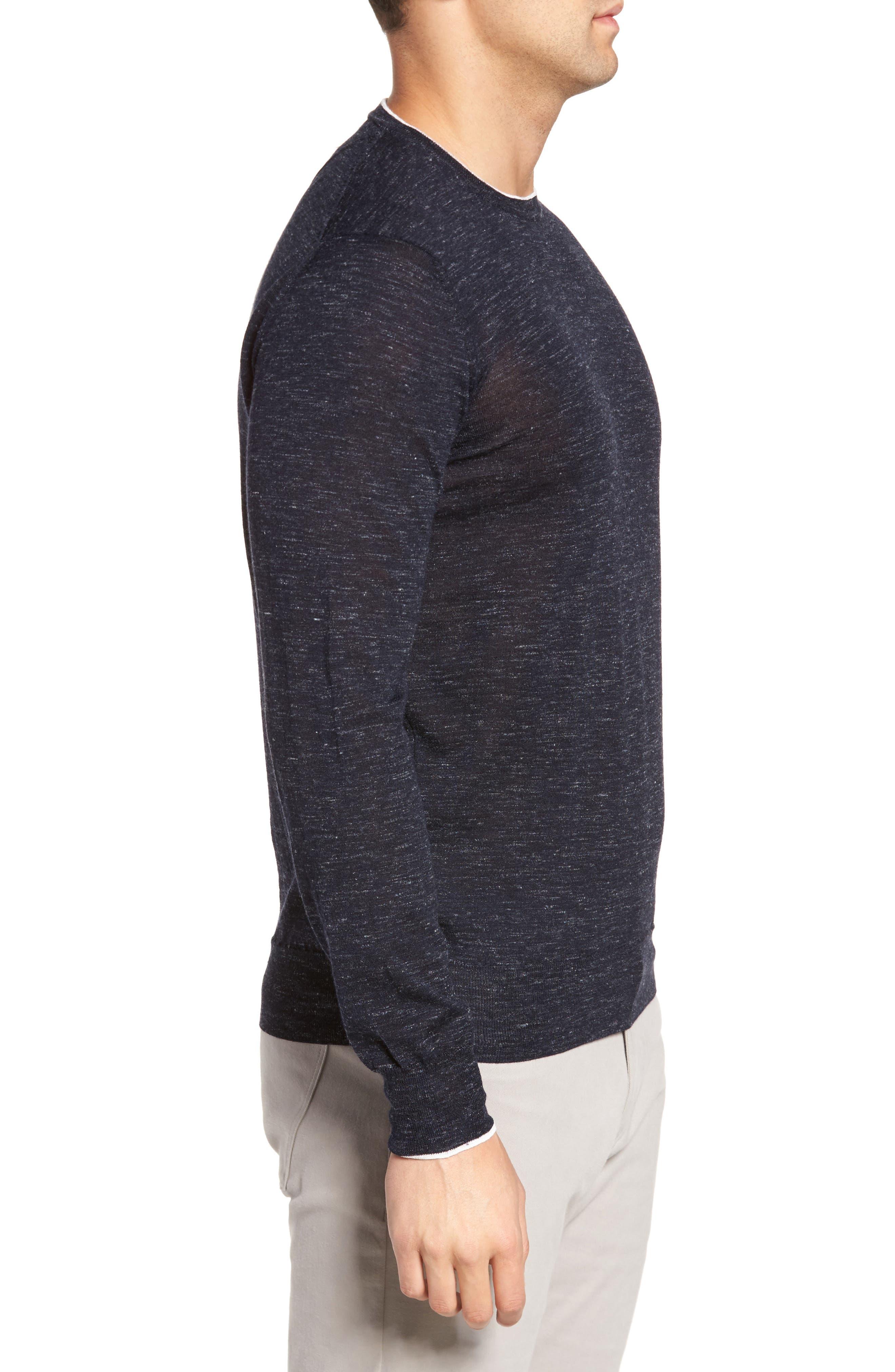 Summertime Crewneck Cotton & Silk Sweater,                             Alternate thumbnail 3, color,                             Barchetta