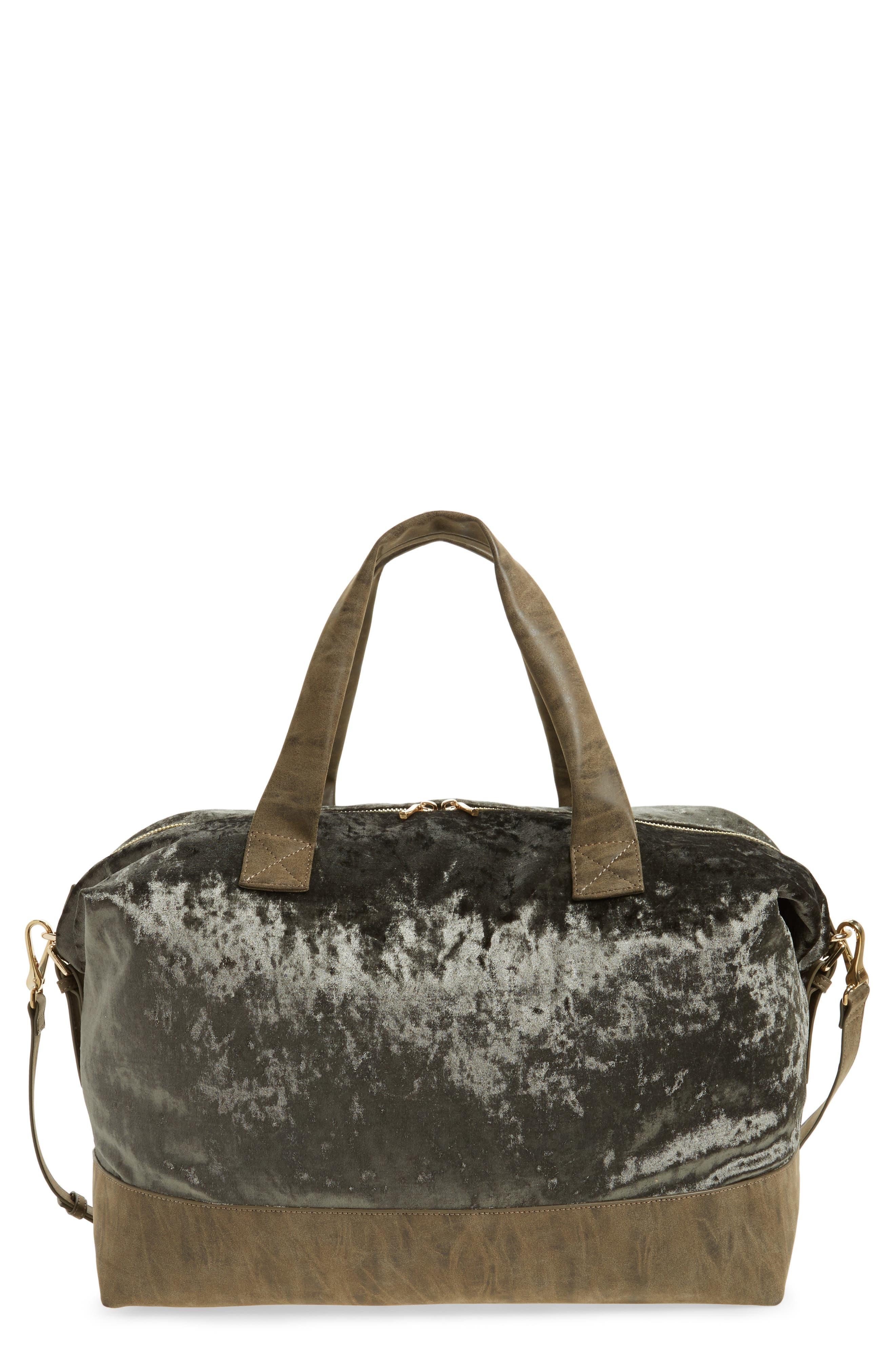 Main Image - Sole Society Venti Velvet Duffel Bag