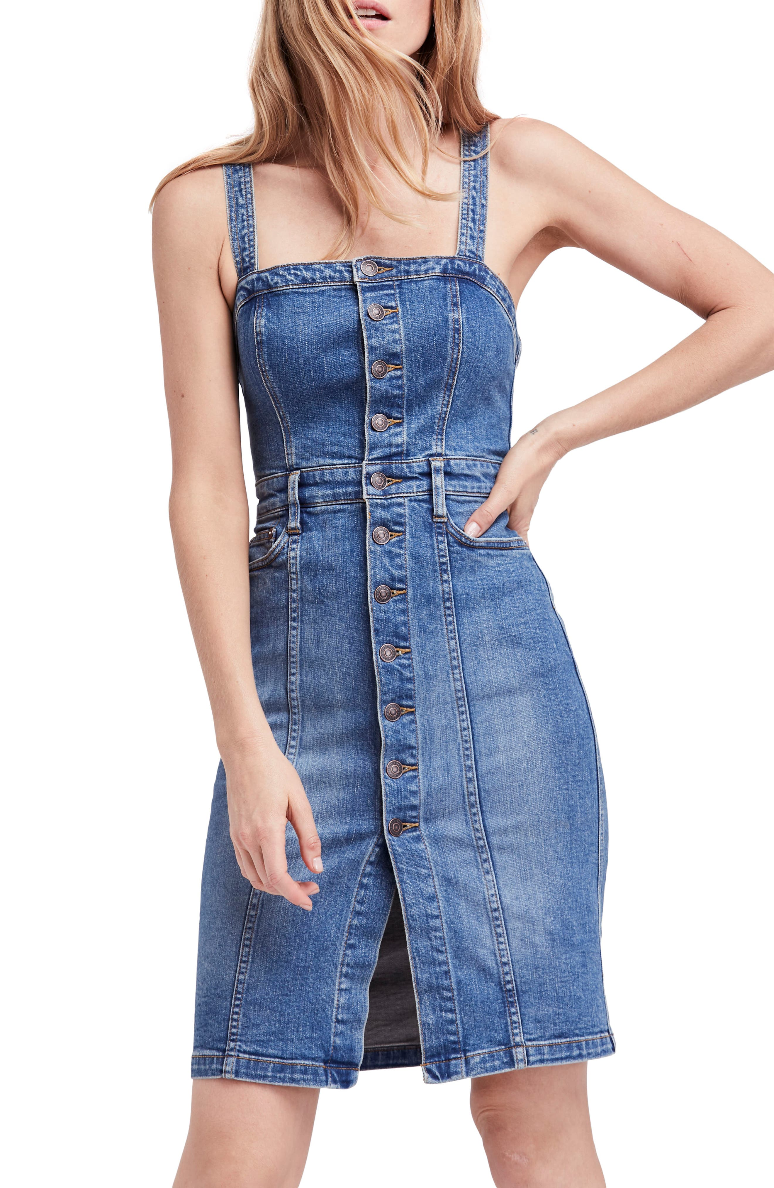 Main Image - Free People Button Front Denim Jumper