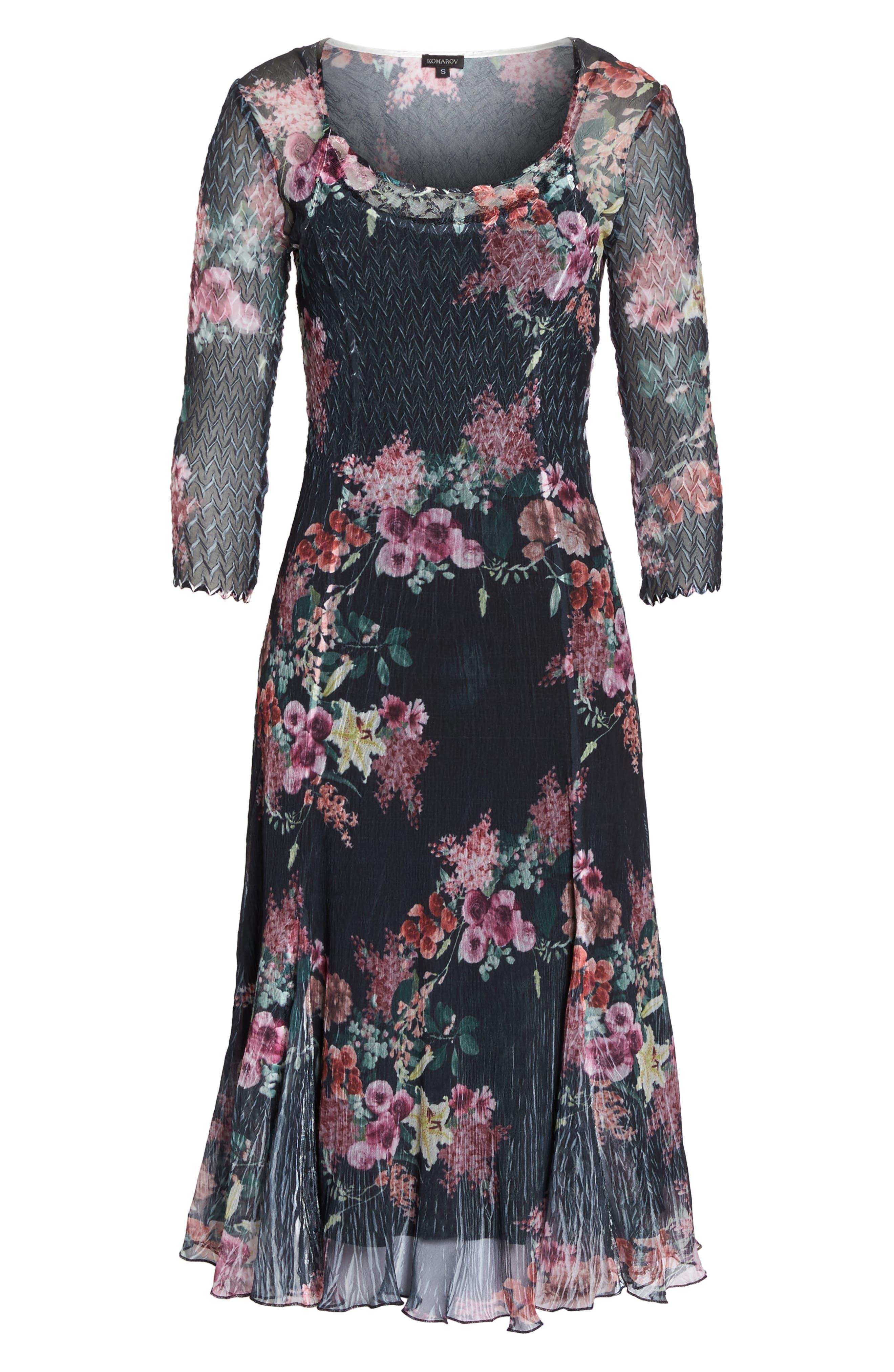 Floral A-Line Dress,                             Alternate thumbnail 6, color,                             Evening Garden