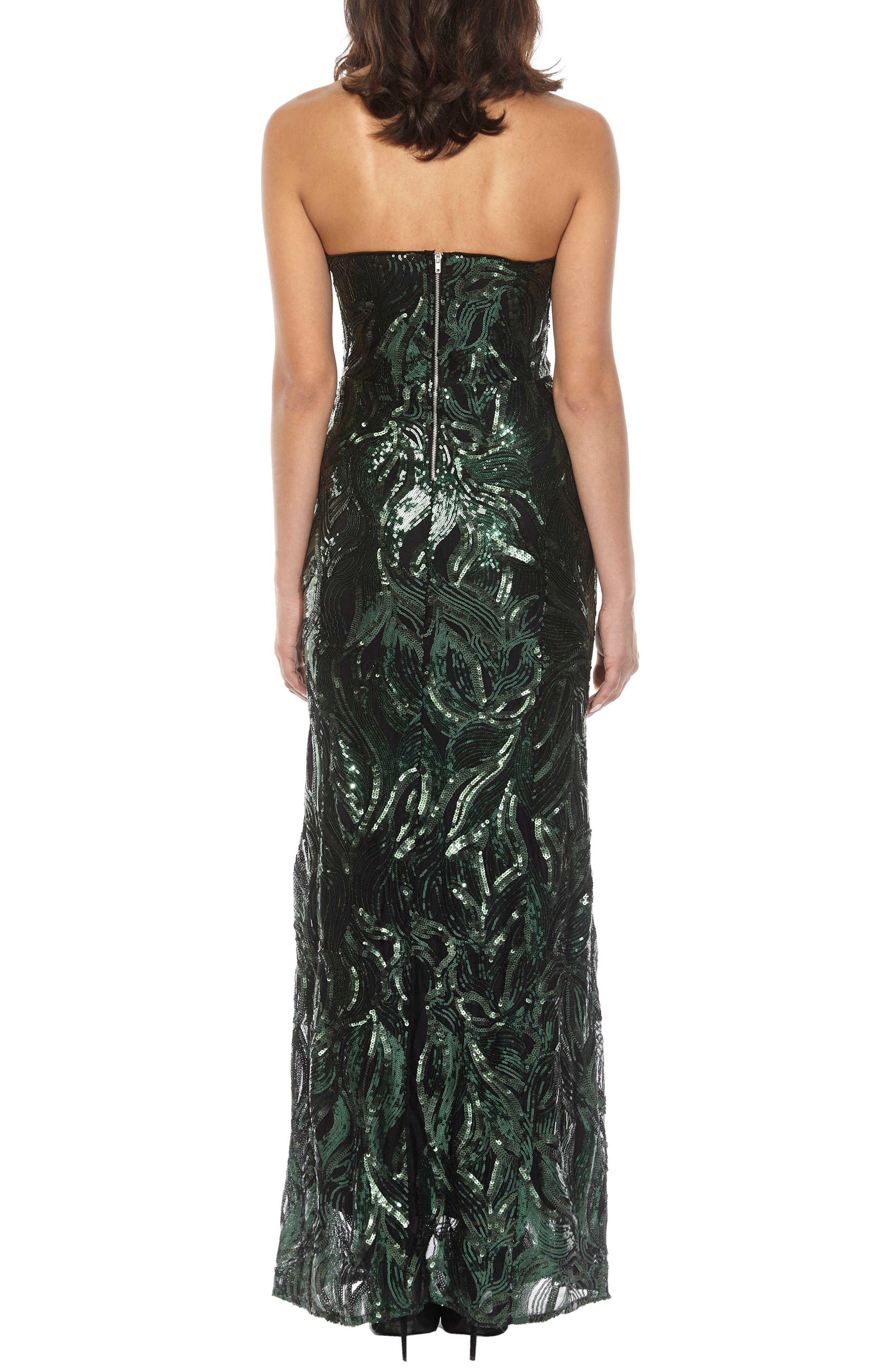 Gaynor Sequin Strapless Maxi Dress,                             Alternate thumbnail 2, color,                             Green