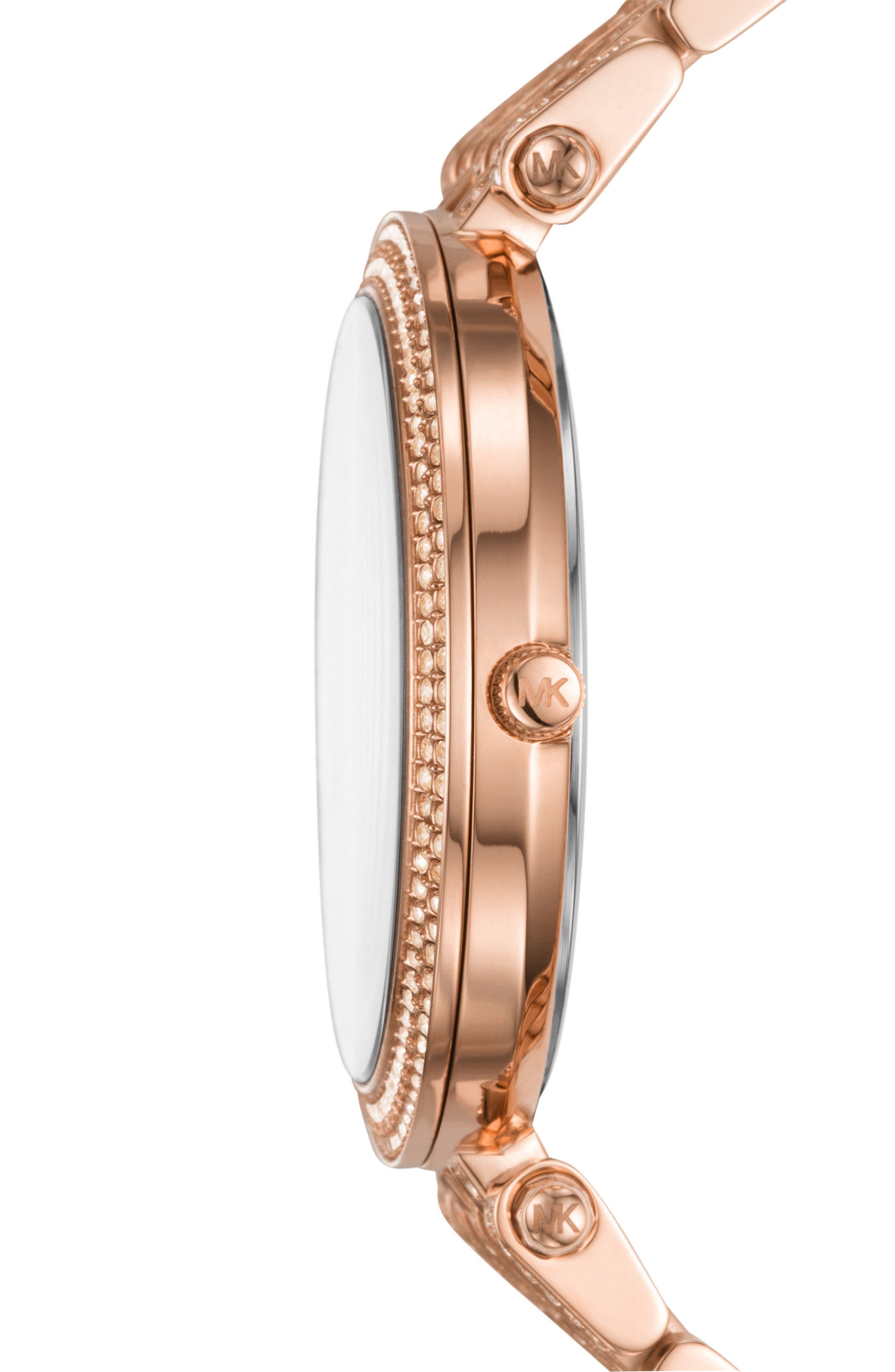 Darci Crystal Bezel Braclet Watch, 39mm,                             Alternate thumbnail 2, color,                             Rose Gold