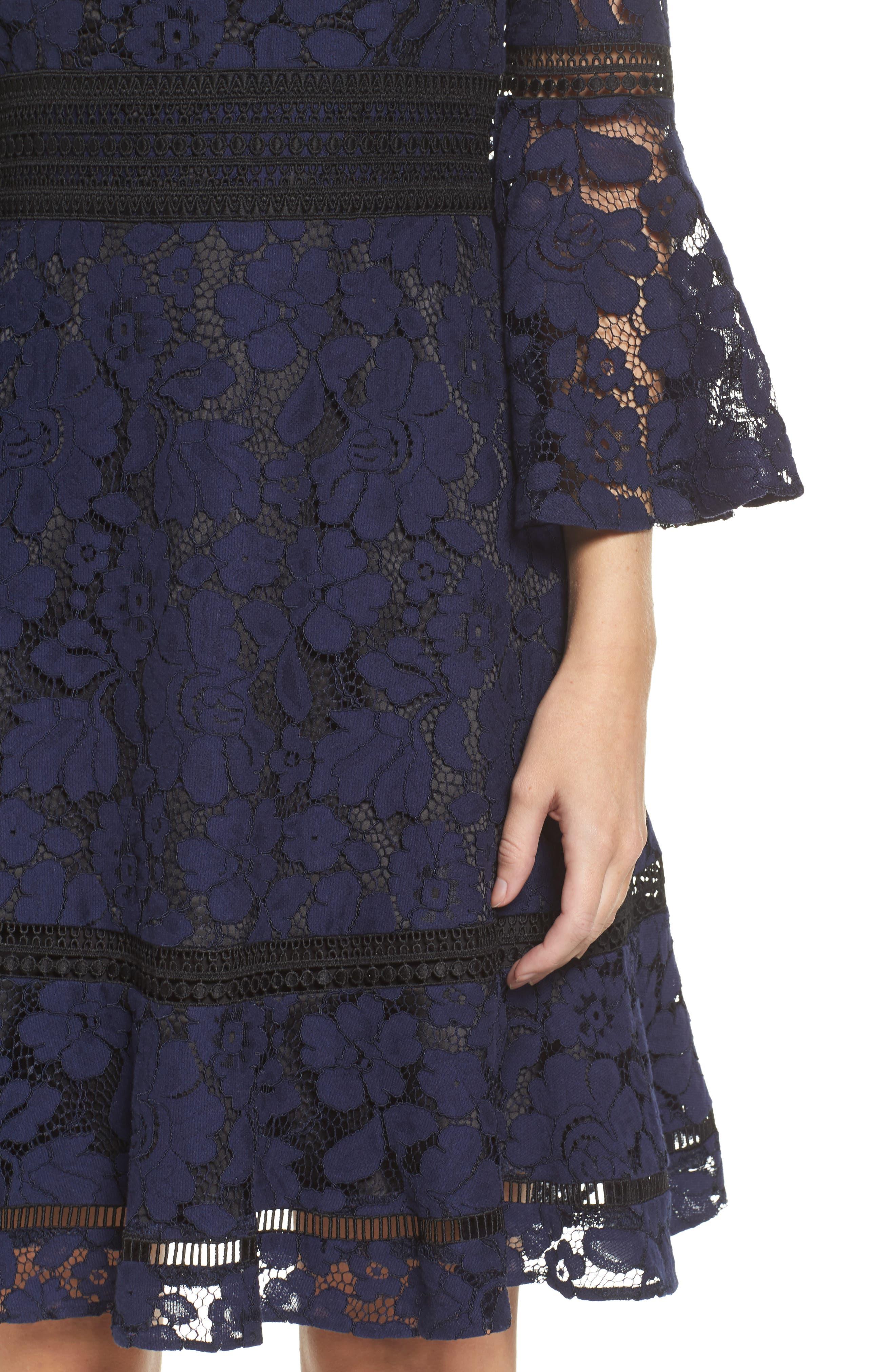 Bell Sleeve Lace Dress,                             Alternate thumbnail 4, color,                             Navy/ Black
