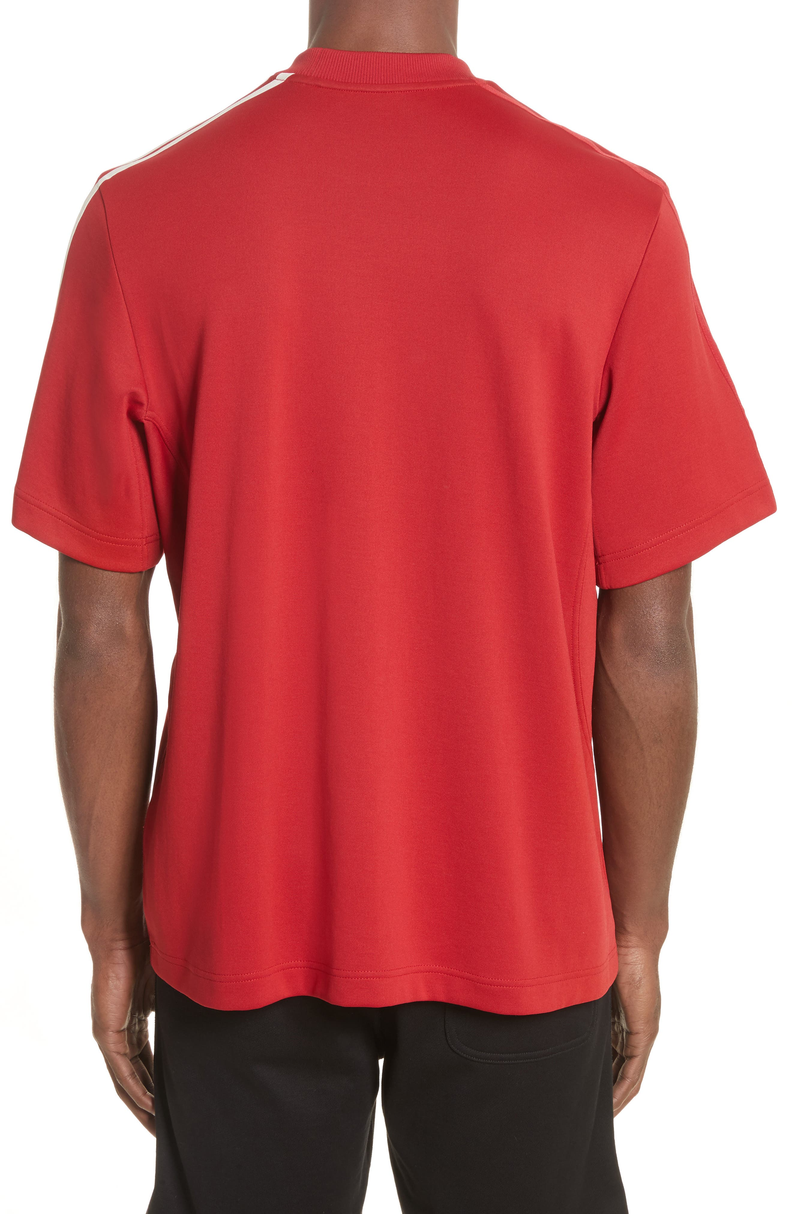 x adidas Stripe Crewneck T-Shirt,                             Alternate thumbnail 2, color,                             Red