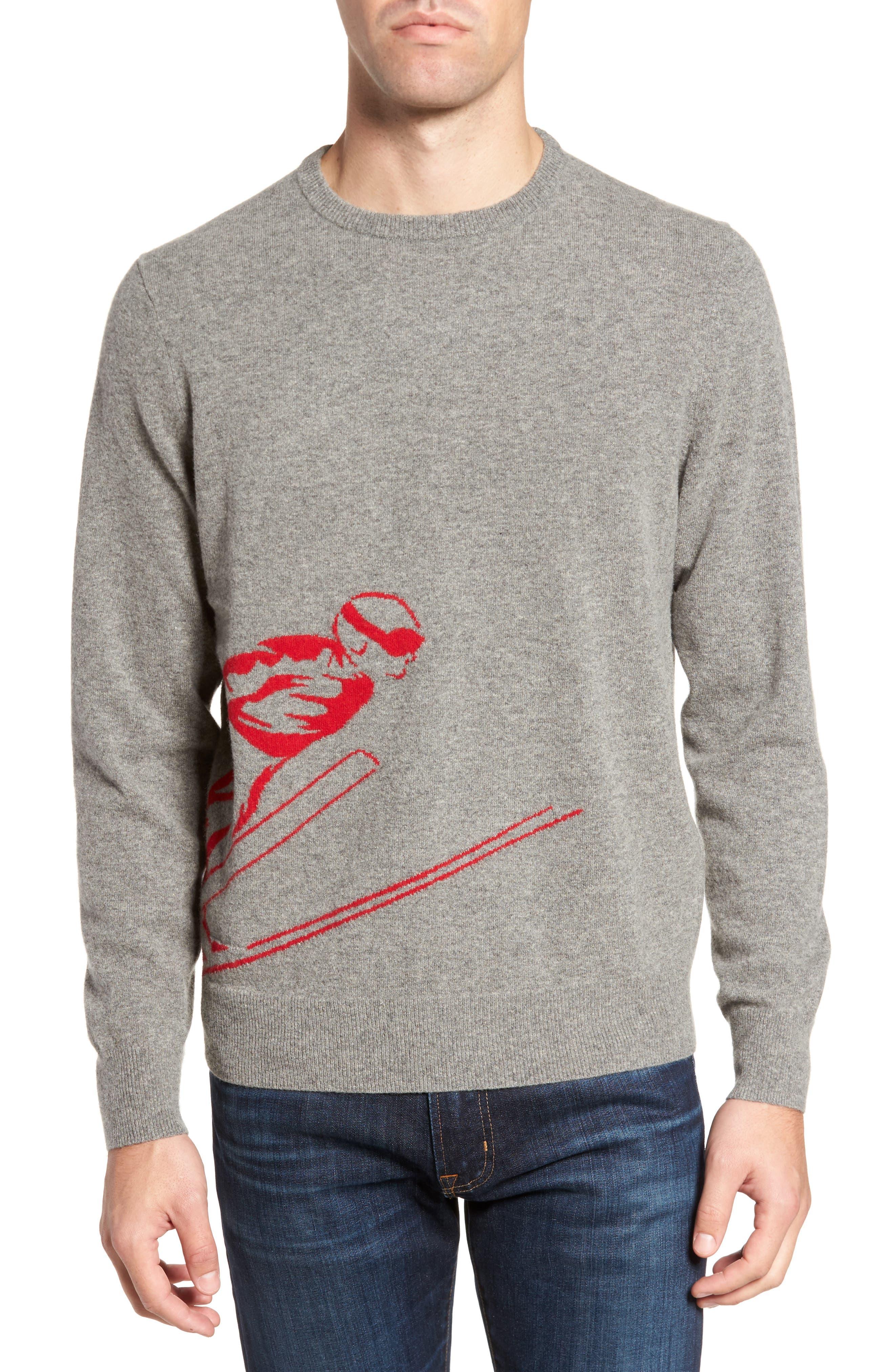 Skier Wool Blend Sweater,                             Main thumbnail 1, color,                             Mid Grey/ Crimson