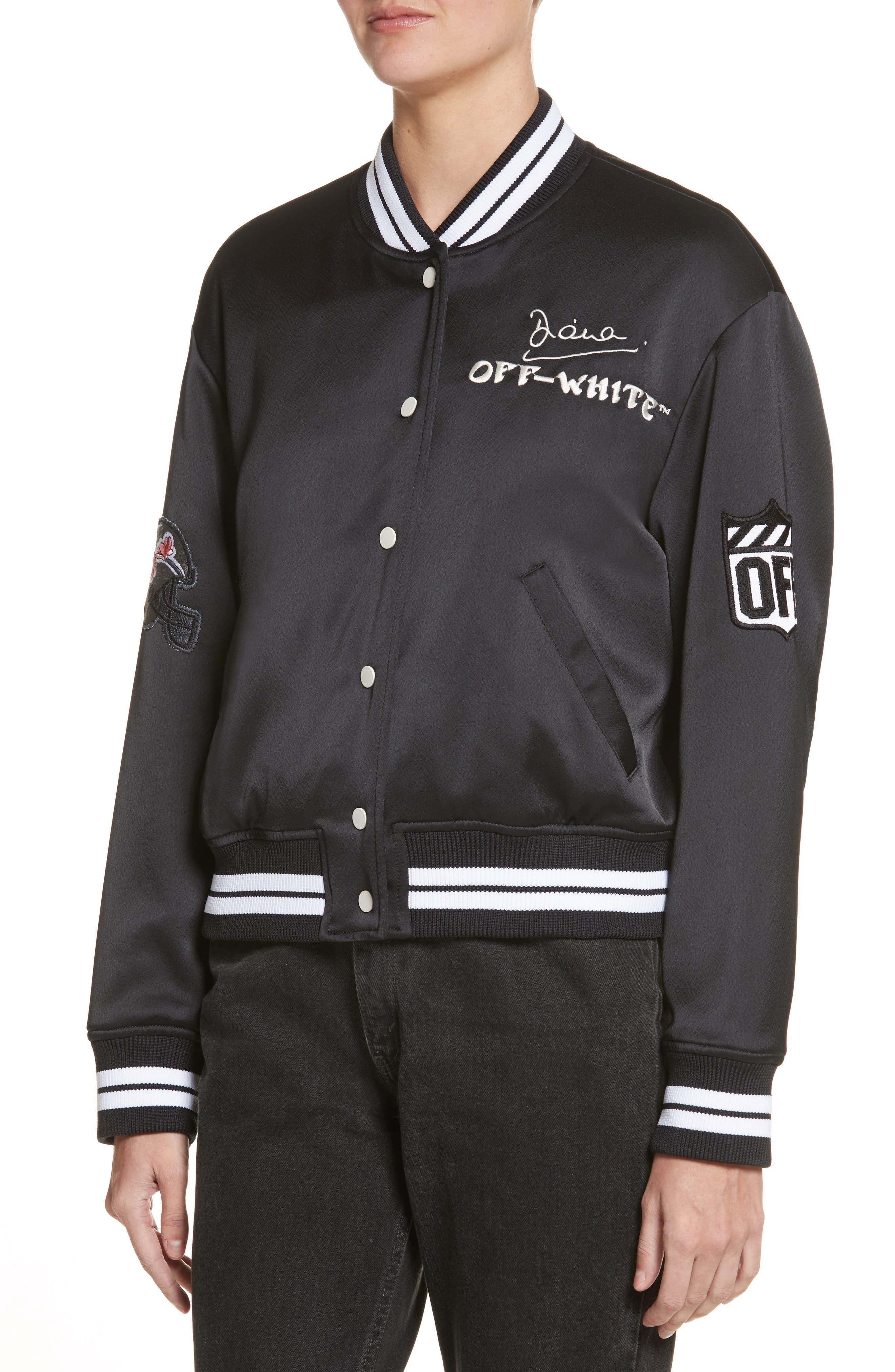 Varsity Bomber Jacket,                             Alternate thumbnail 4, color,                             Black/ White