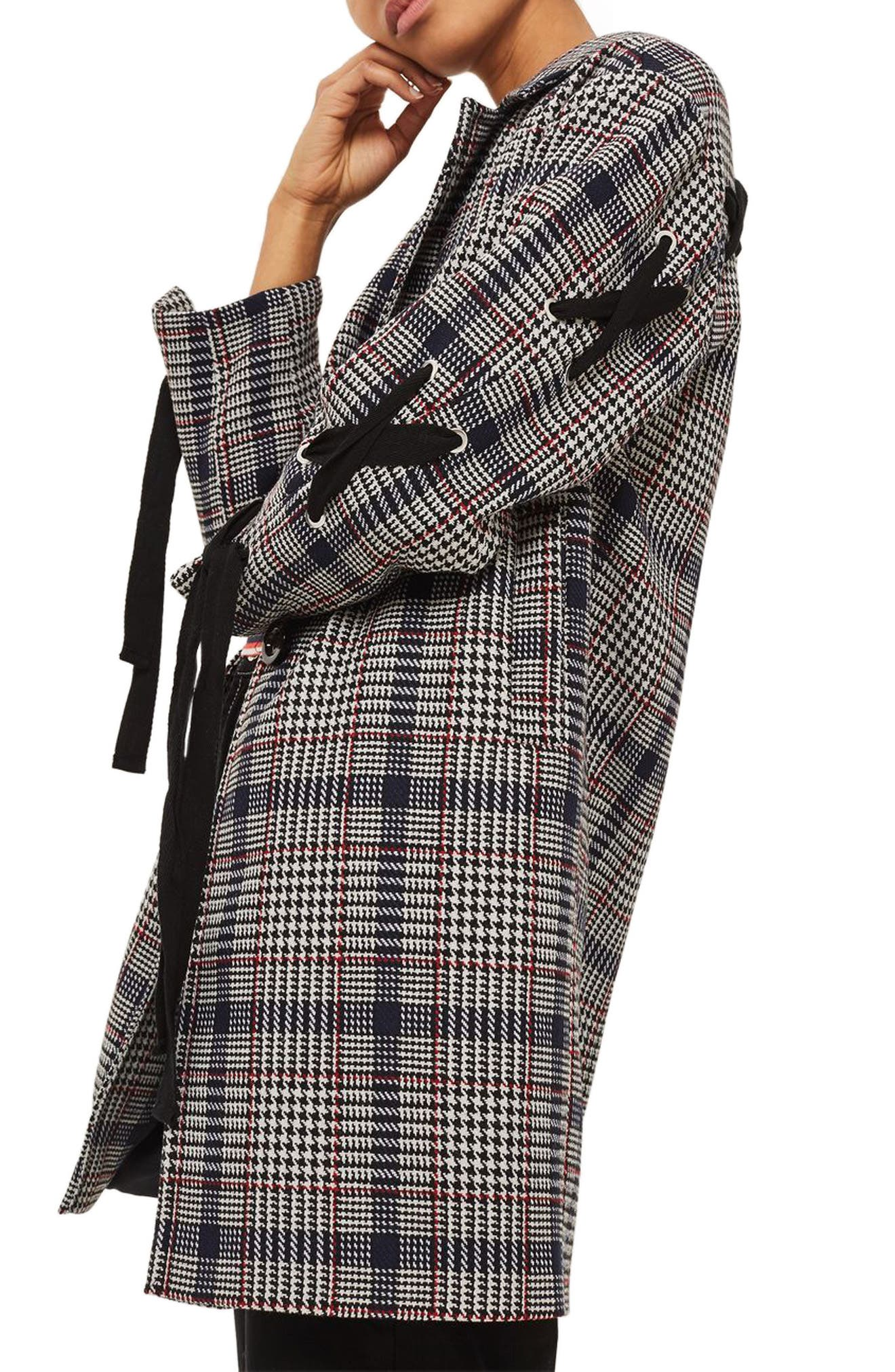 Lace-Up Sleeve Check Coat,                             Alternate thumbnail 2, color,                             Navy Blue Multi