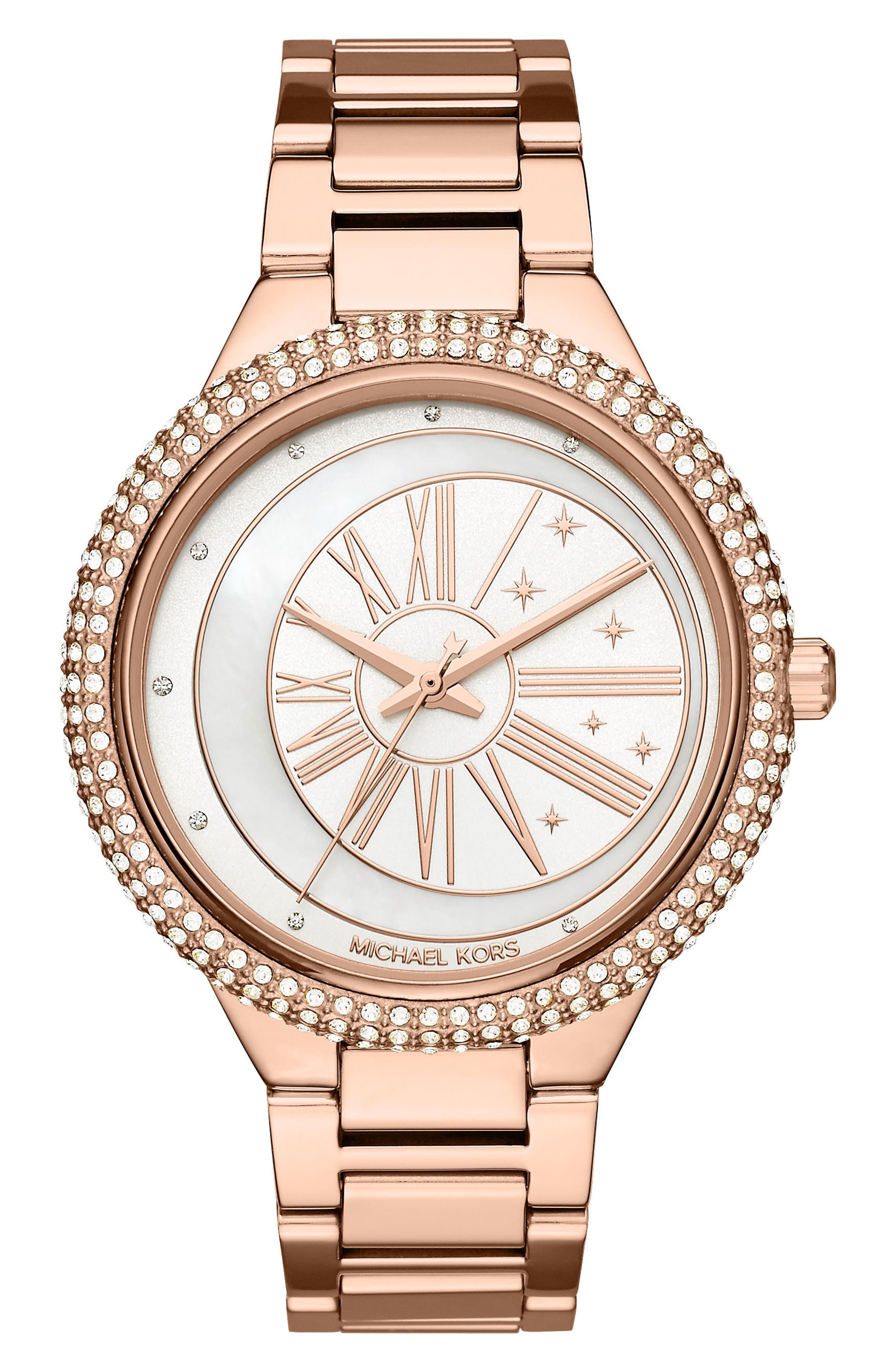 Taryn Crystal Bracelet Watch, 40mm,                         Main,                         color, Rose Gold/ Mop/ Rose Gold