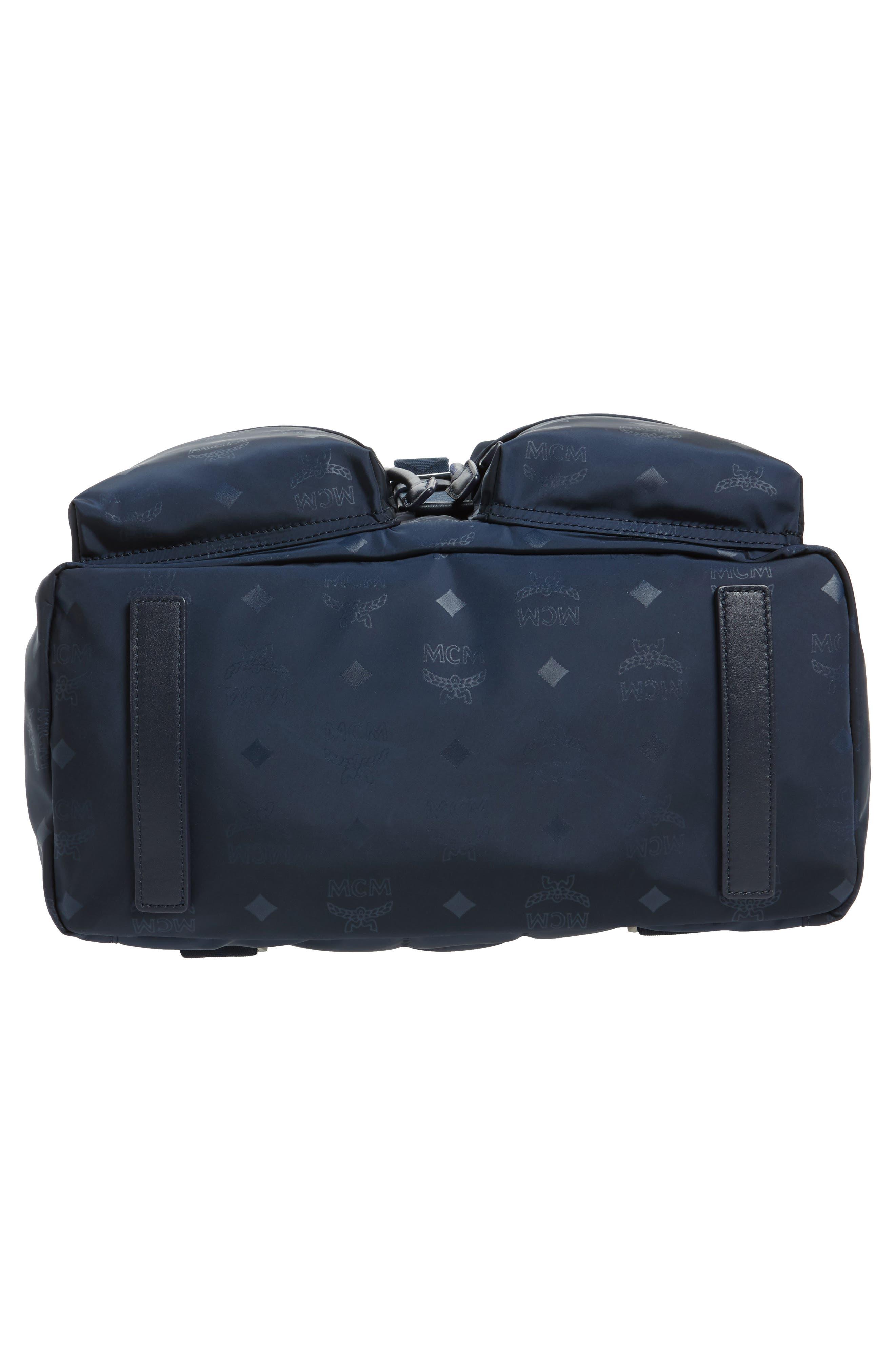 Small Dieter Monogrammed Nylon Backpack,                             Alternate thumbnail 6, color,                             Navy