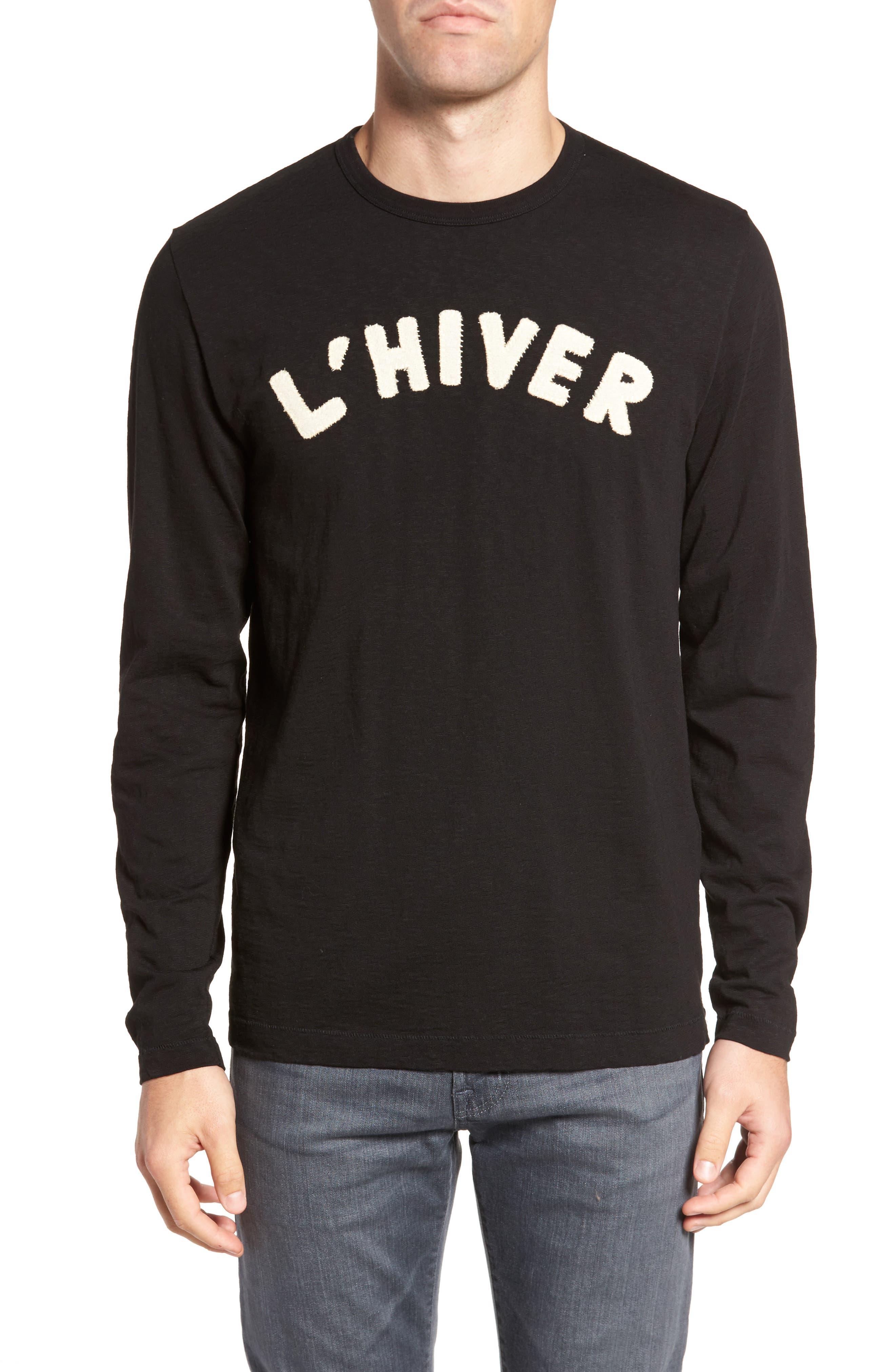L'Hiver Regular Fit Long Sleeve T-shirt,                         Main,                         color, Black/ Clay