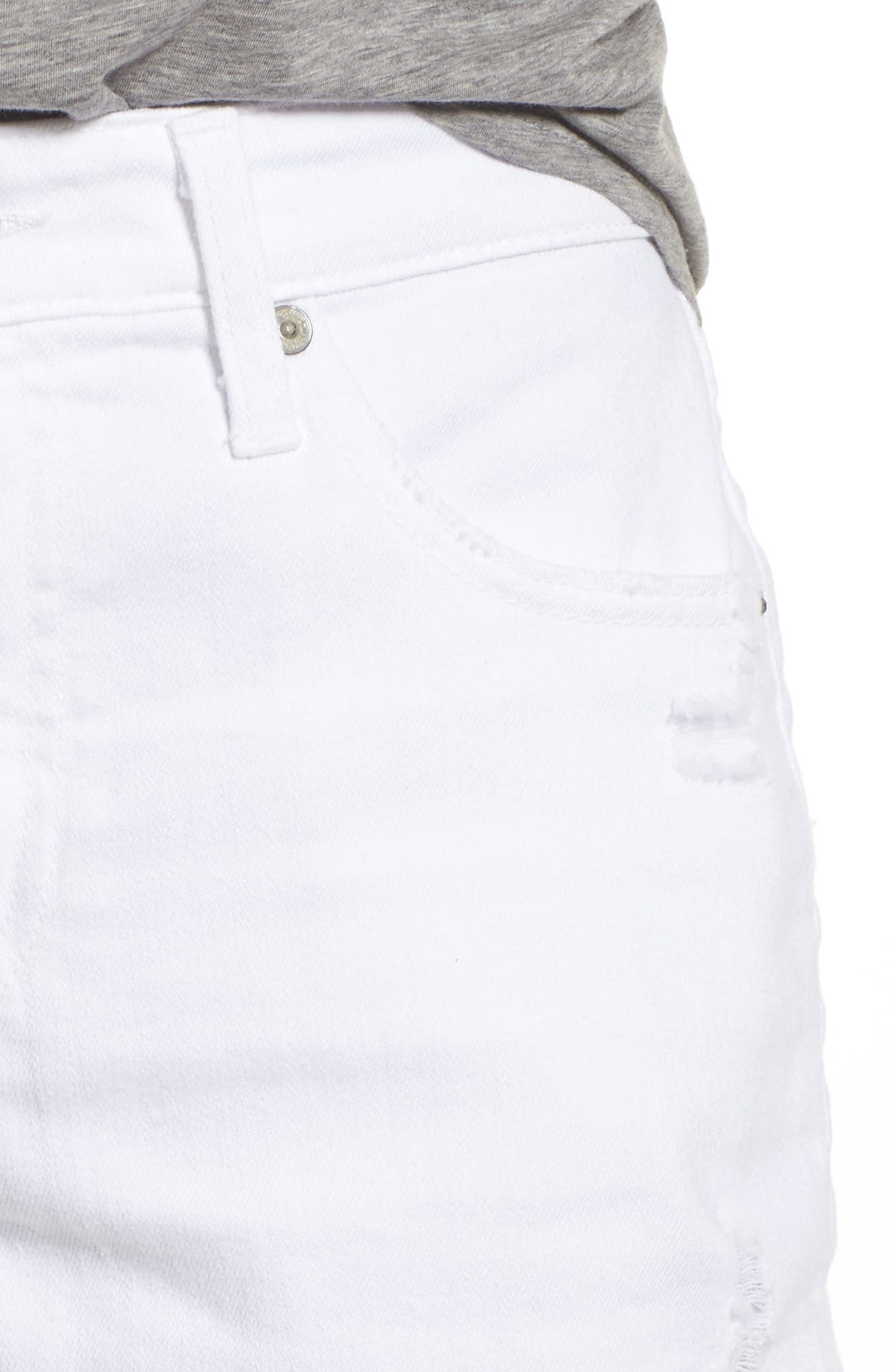 Alternate Image 4  - AG Bryn High Rise Cutoff Denim Shorts (5 Years Tattered White)
