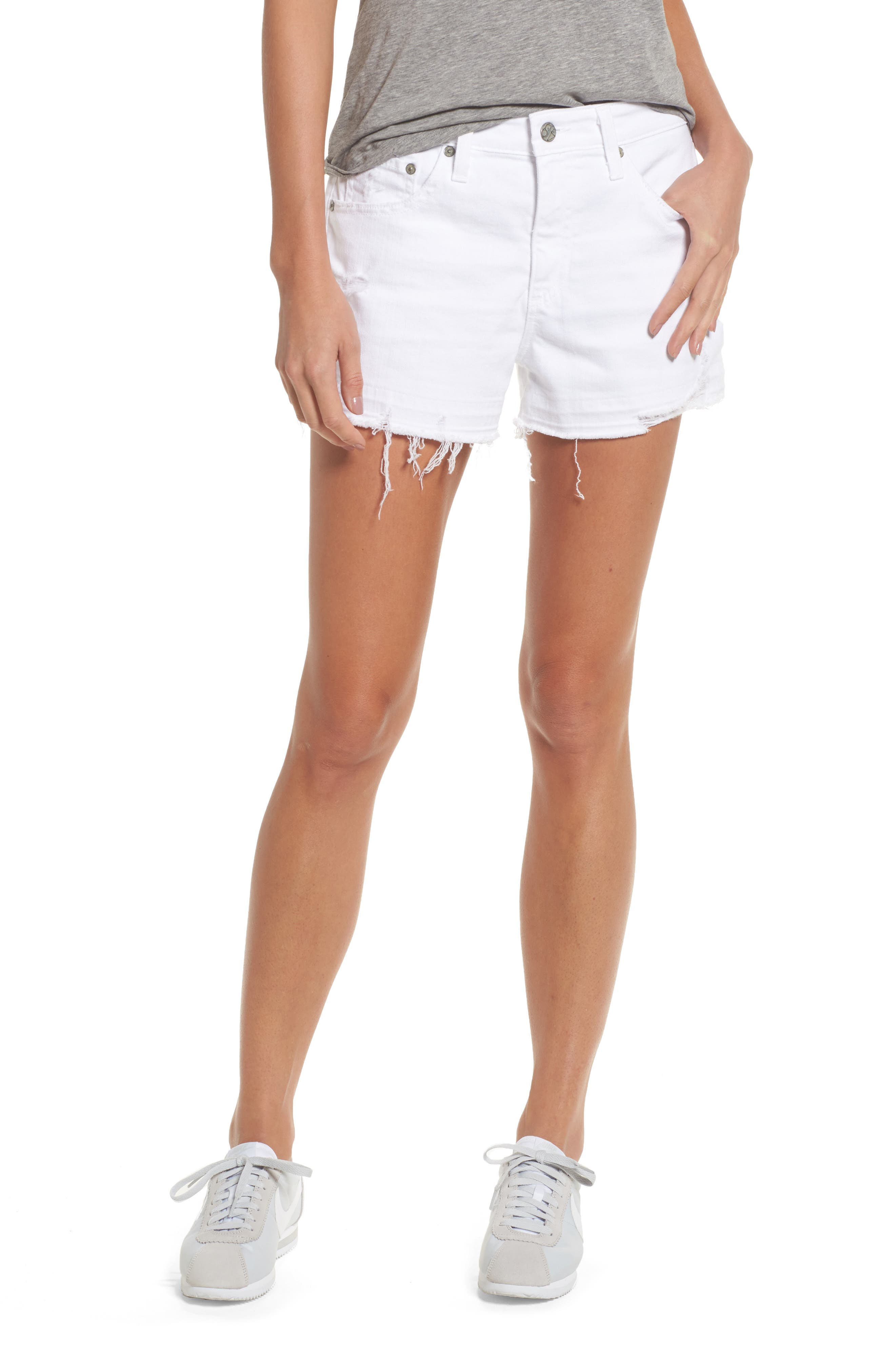 Alternate Image 1 Selected - AG Bryn High Rise Cutoff Denim Shorts (5 Years Tattered White)