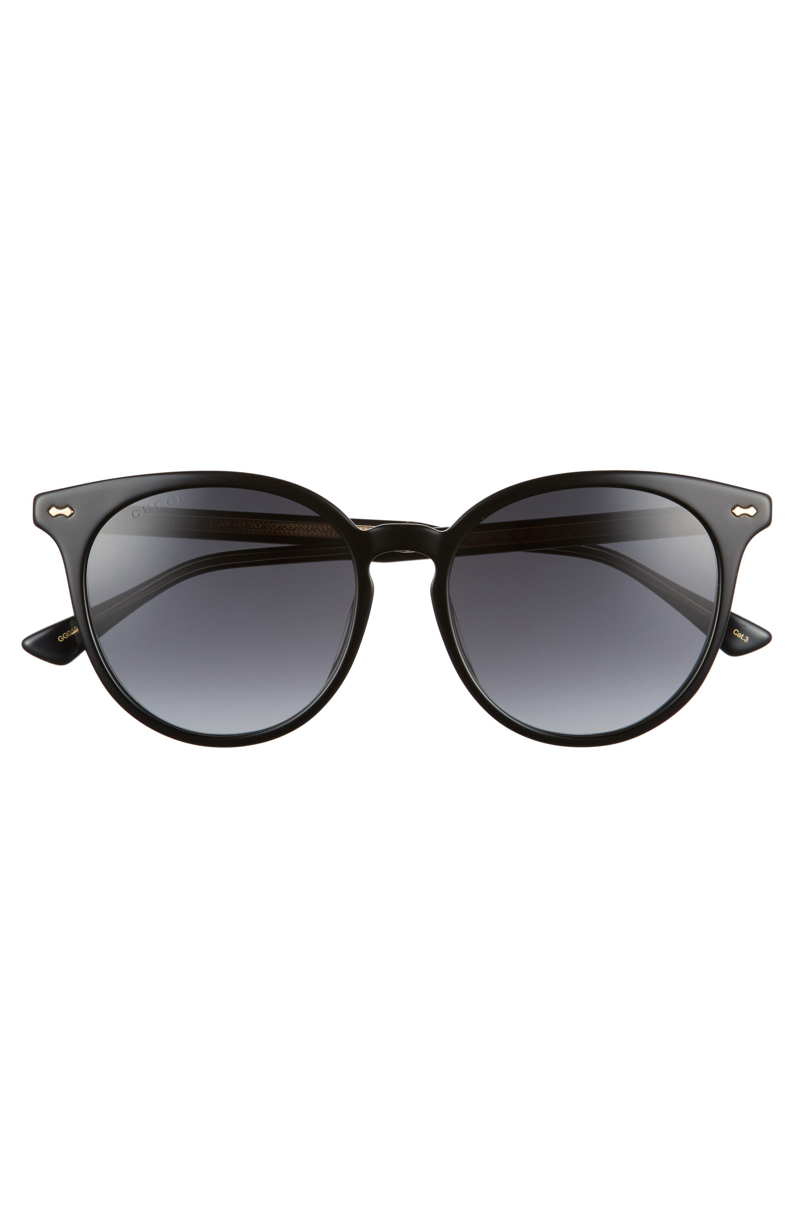 55mm Round Cat Eye Sunglasses,                             Alternate thumbnail 3, color,                             Black