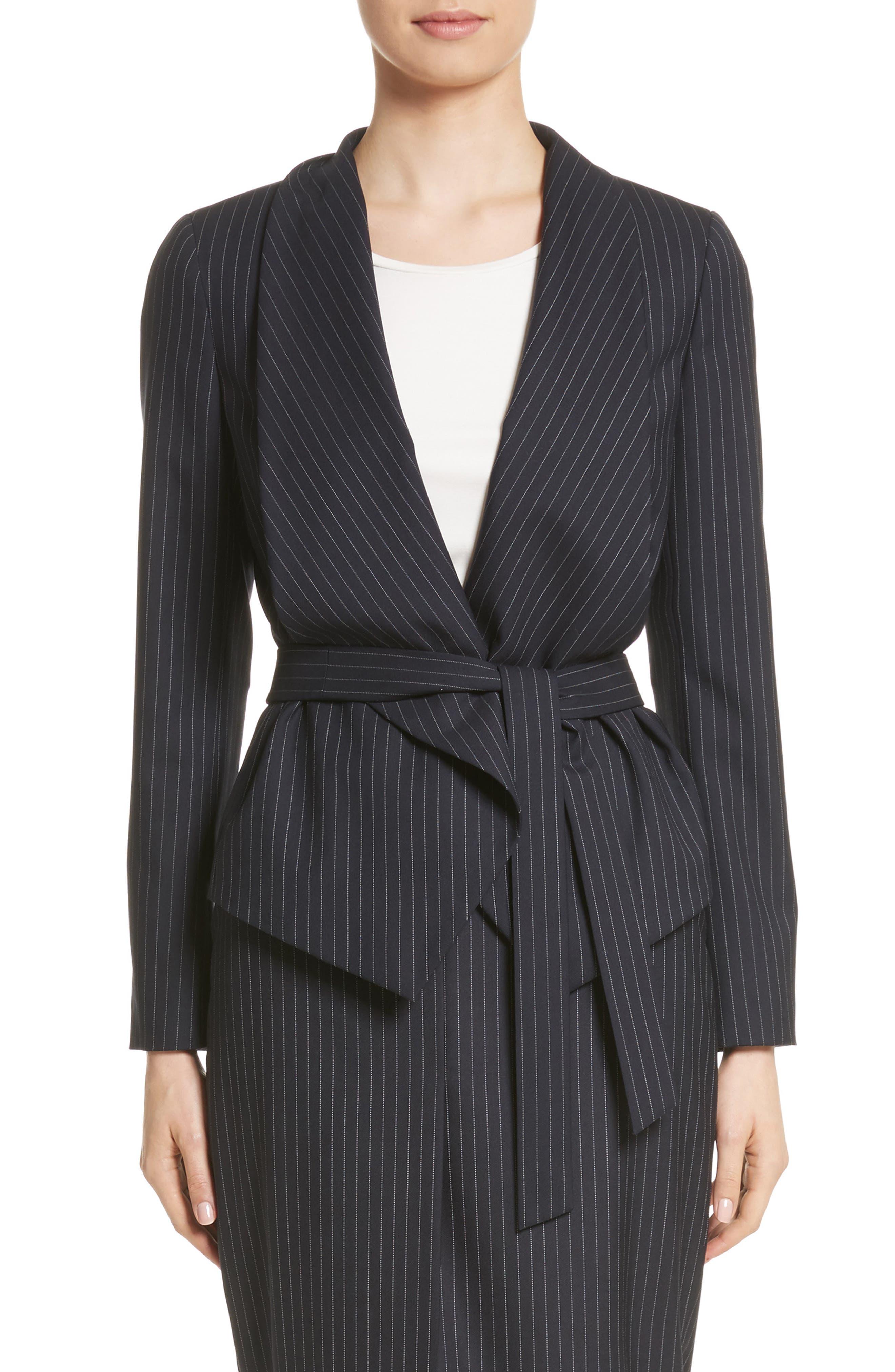 Giunto Stretch Wool Belted Blazer,                             Main thumbnail 1, color,                             Ultramarine