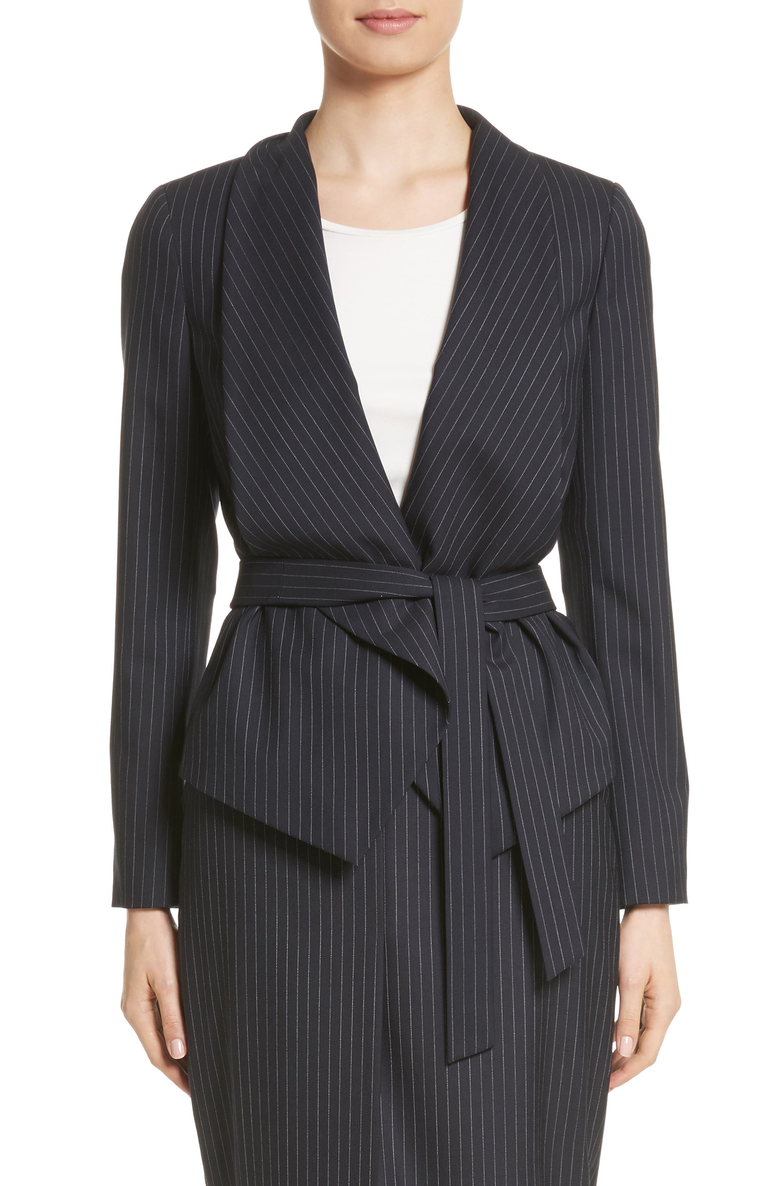 Giunto Stretch Wool Belted Blazer,                         Main,                         color, Ultramarine