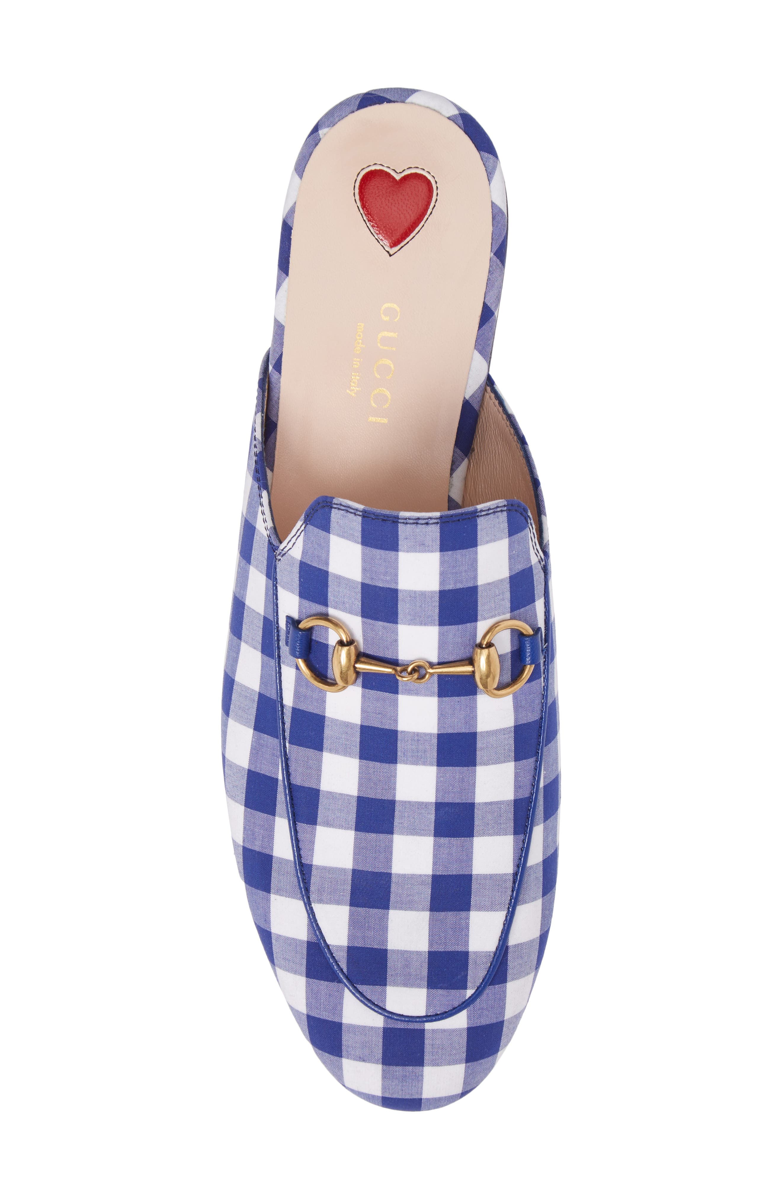 Princetown Gingham Loafer Mule,                             Alternate thumbnail 5, color,                             White/ Electric Blue