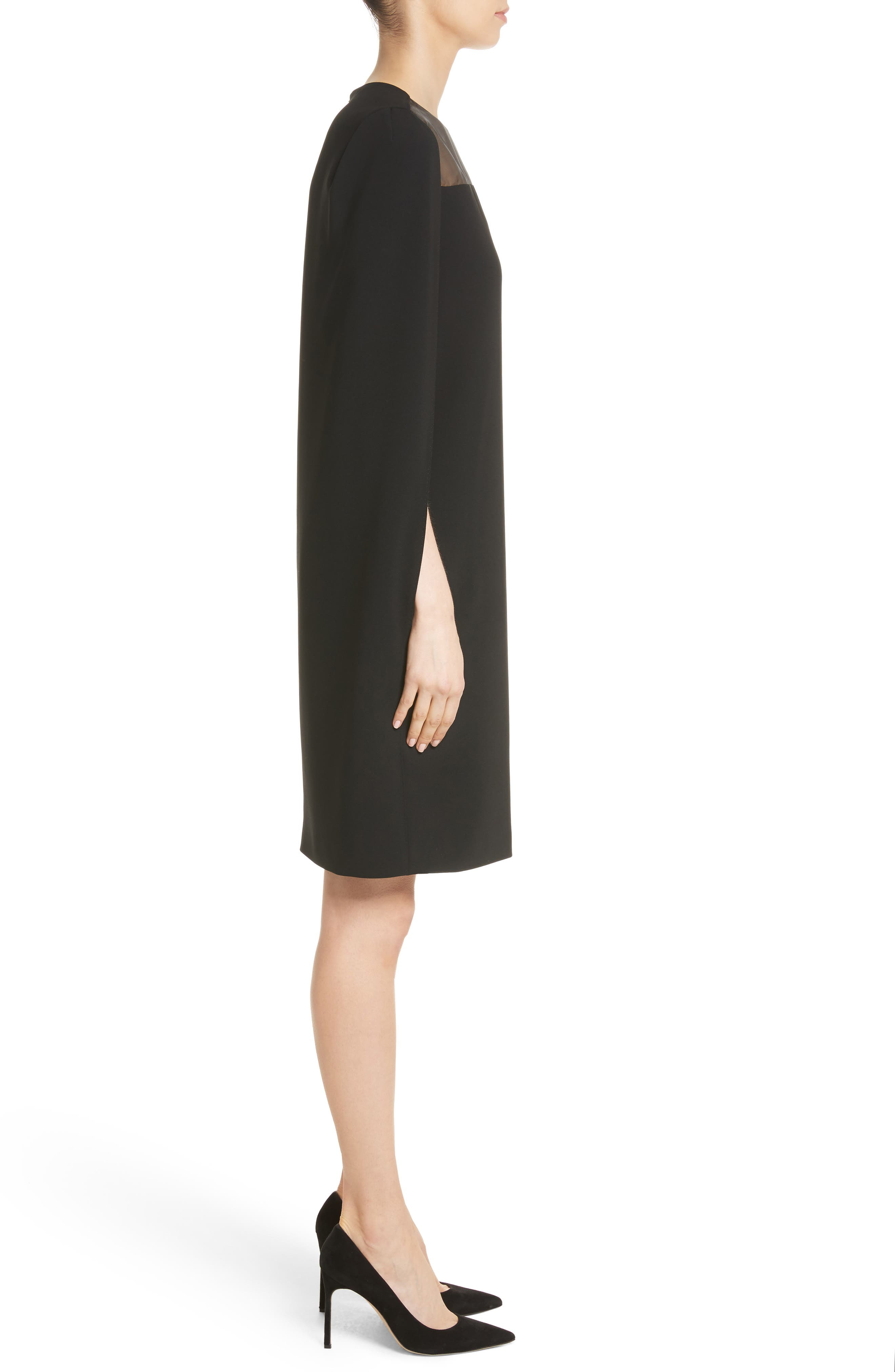 Sospiro Cape Shift Dress,                             Alternate thumbnail 3, color,                             Black