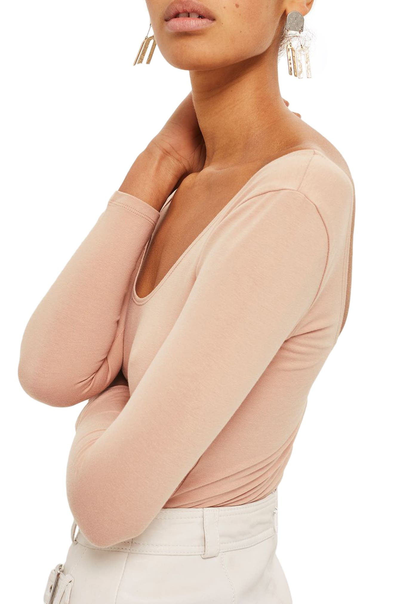 Stretch Cotton Long Sleeve Bodysuit,                             Alternate thumbnail 4, color,                             Nude