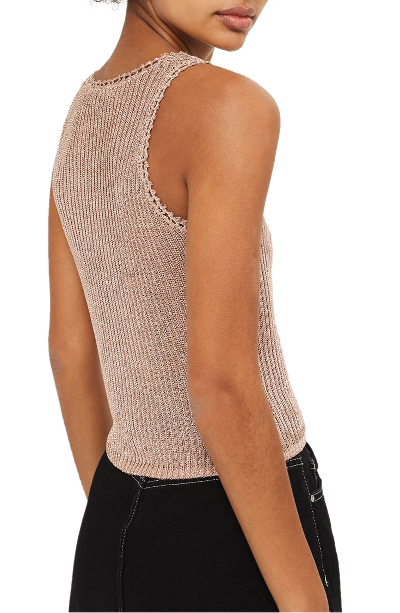 Metallic Ribbed Sweater Tank,                             Alternate thumbnail 2, color,                             Rose Gold