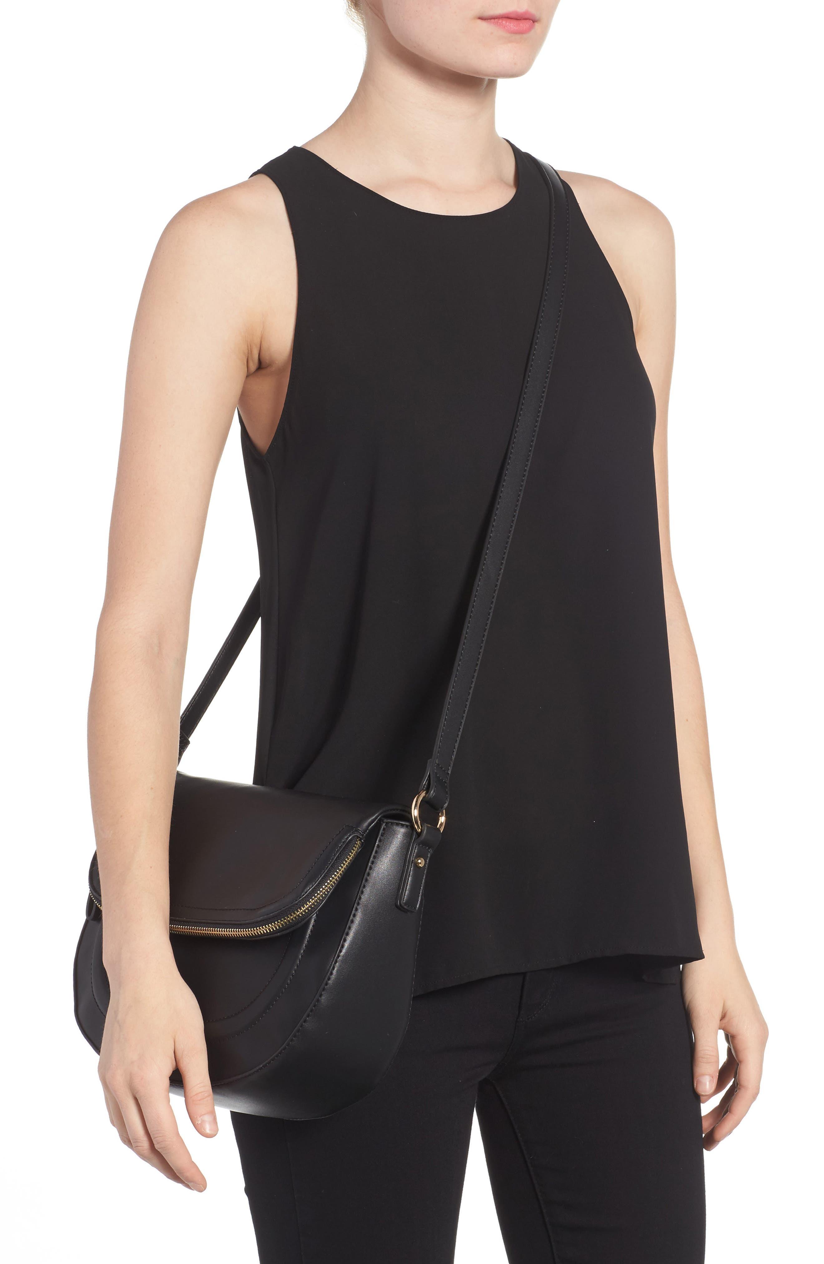 Adden Faux Leather Crossbody Bag,                             Alternate thumbnail 2, color,                             Black