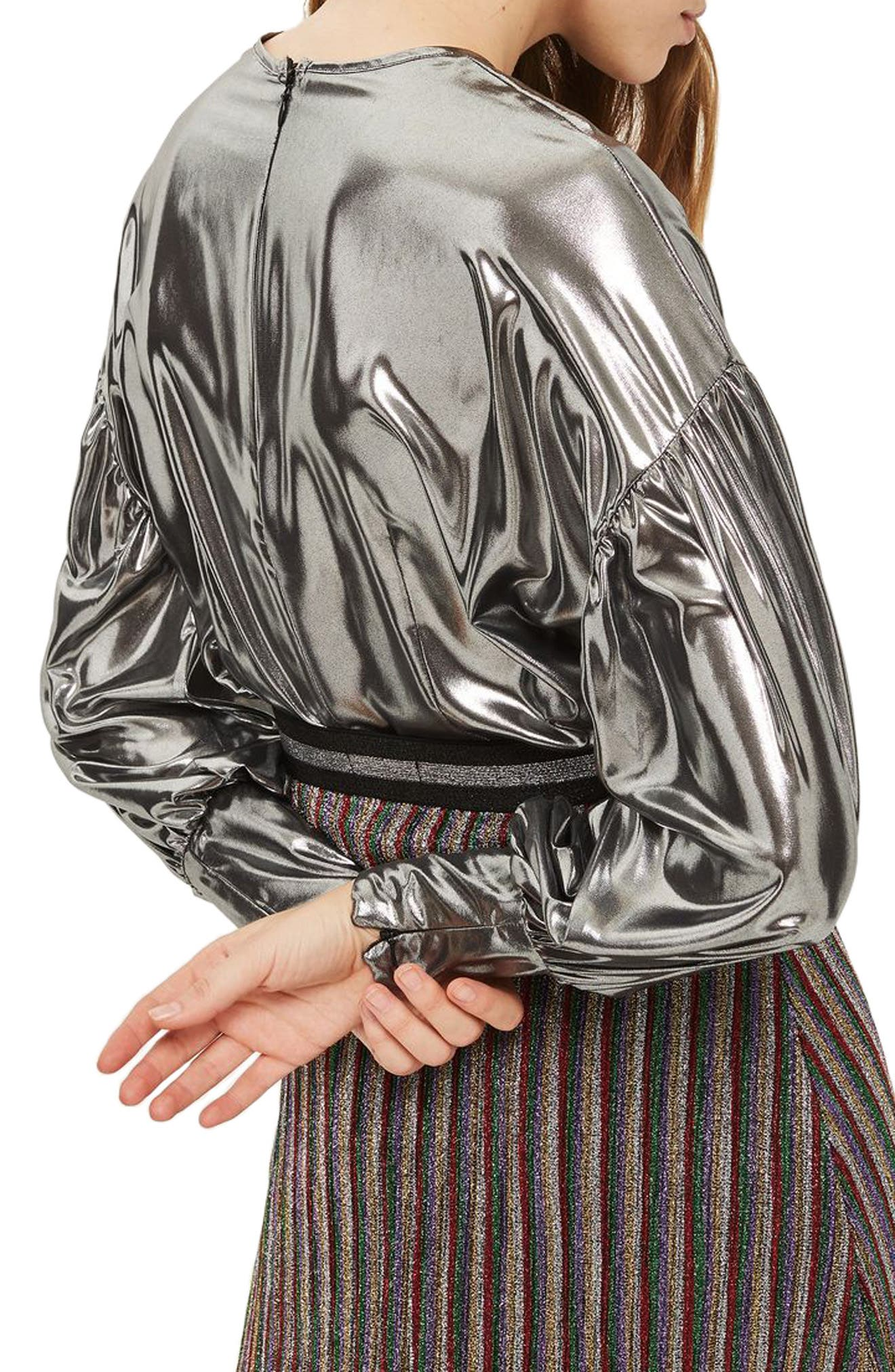 Balloon Sleeve Lamé Blouse,                             Alternate thumbnail 3, color,                             Silver