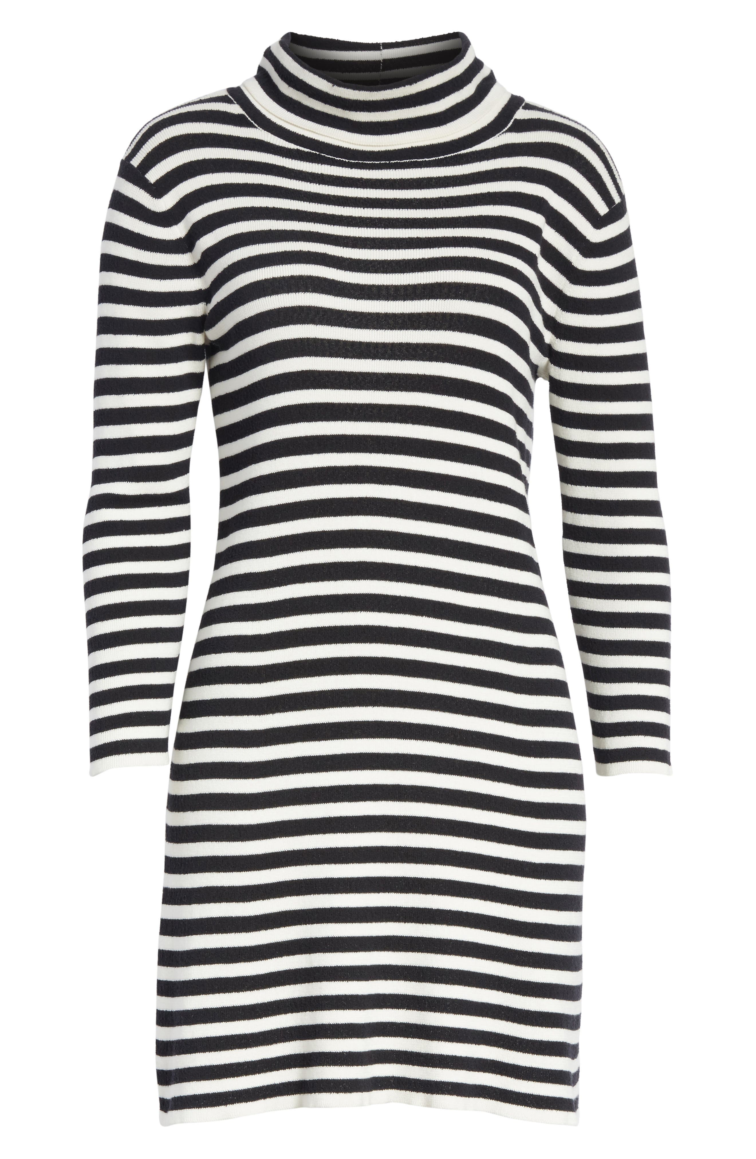 Stripe Cowl Neck Dress,                             Alternate thumbnail 6, color,                             Black/ Ivory
