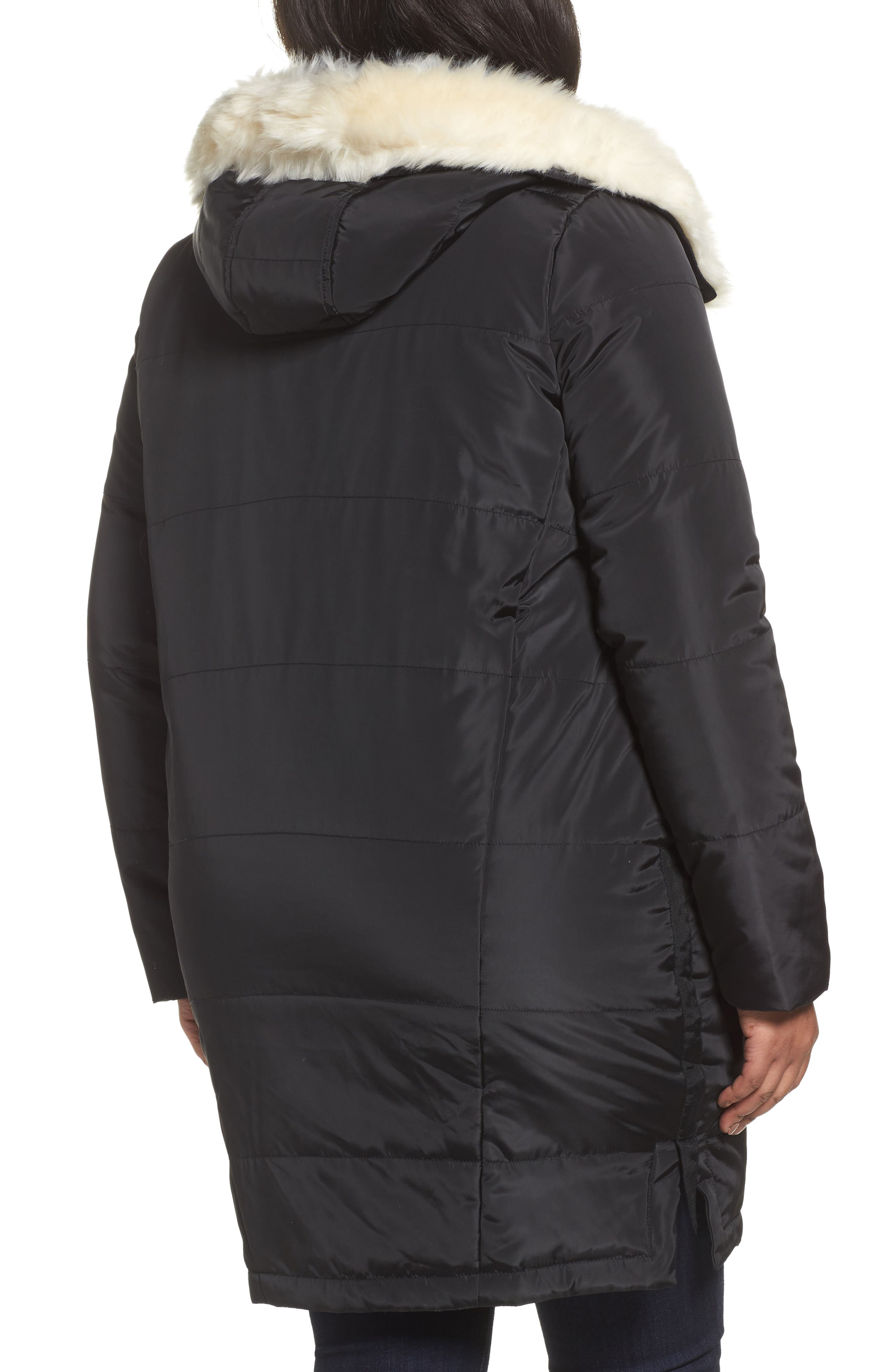 Puffer Coat with Faux Fur Trim,                             Alternate thumbnail 2, color,                             Black