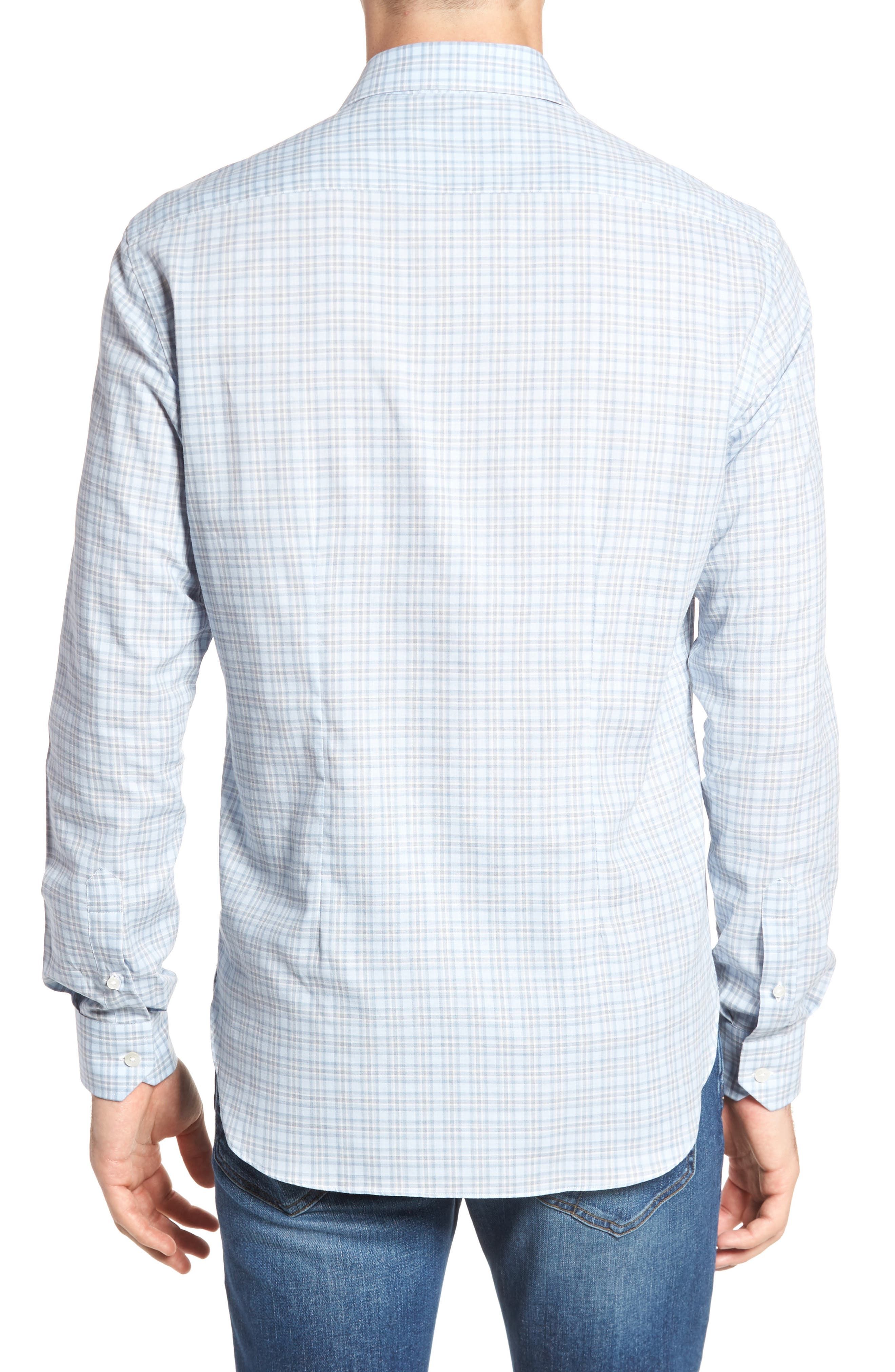 Plaid Sport Shirt,                             Alternate thumbnail 2, color,                             Blue