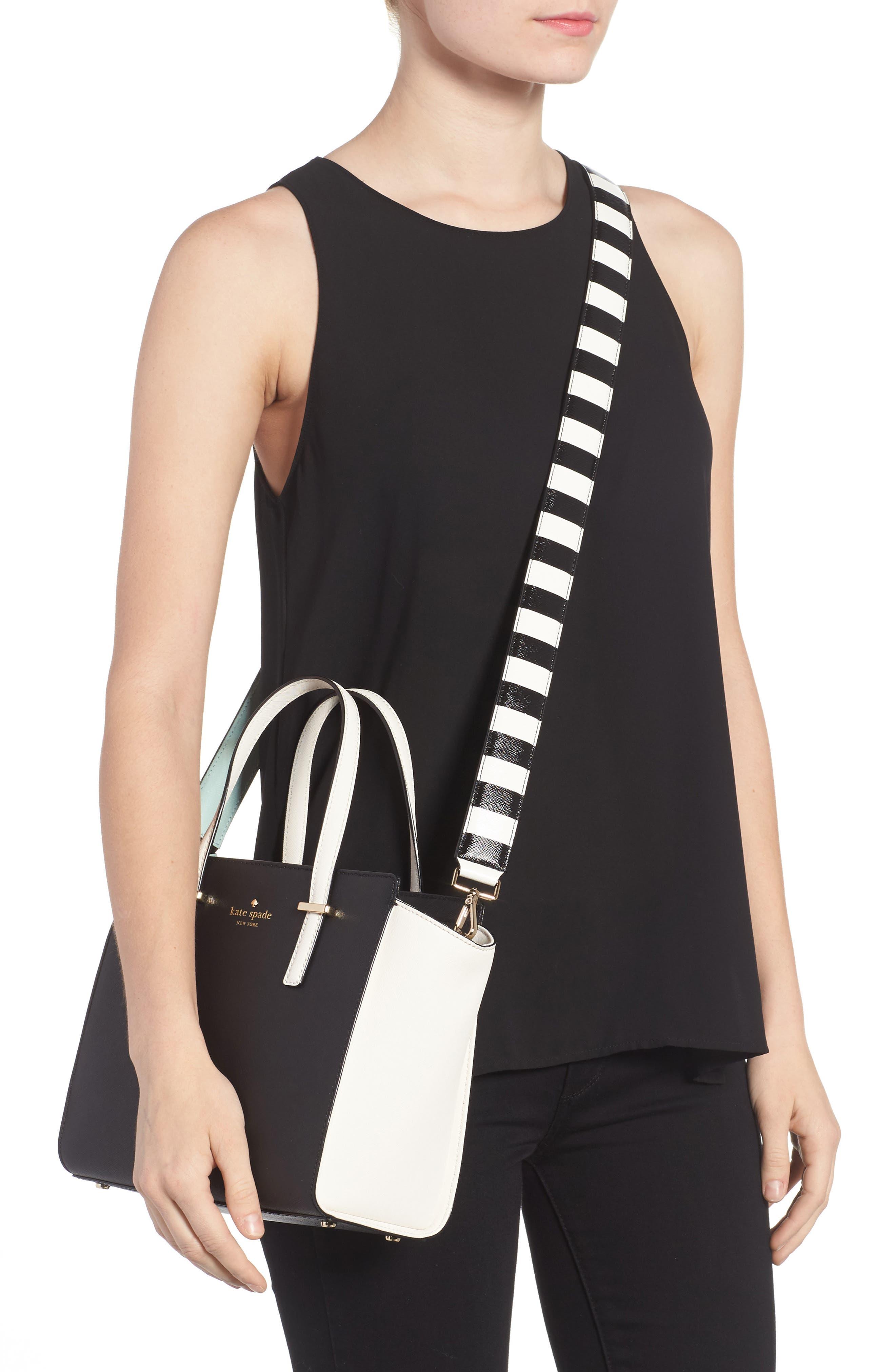 Alternate Image 2  - kate spade new york make it mine stripe tassel leather guitar style bag strap