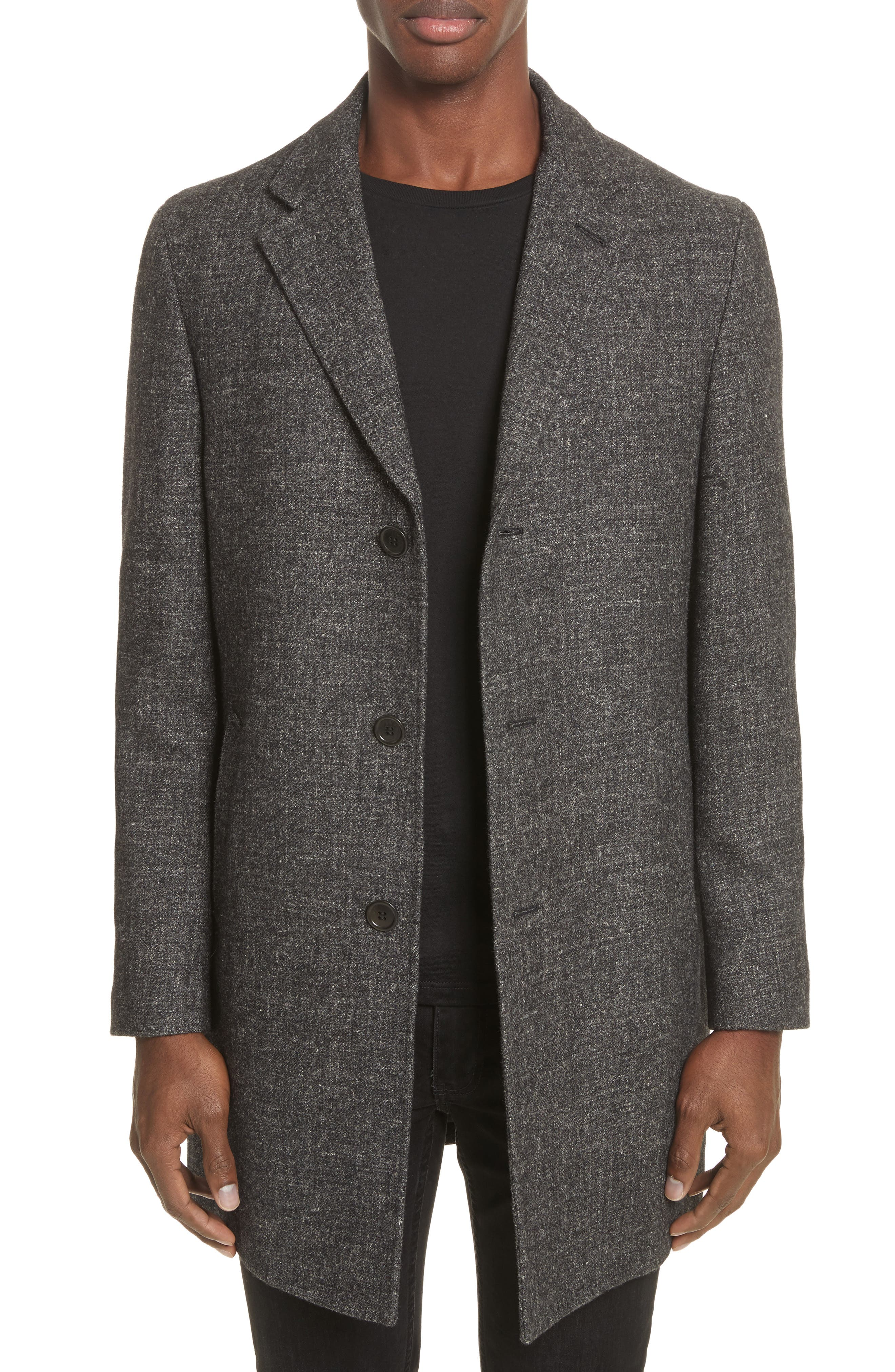Walsh Wool & Linen Topcoat,                             Main thumbnail 1, color,                             Black/ Grey
