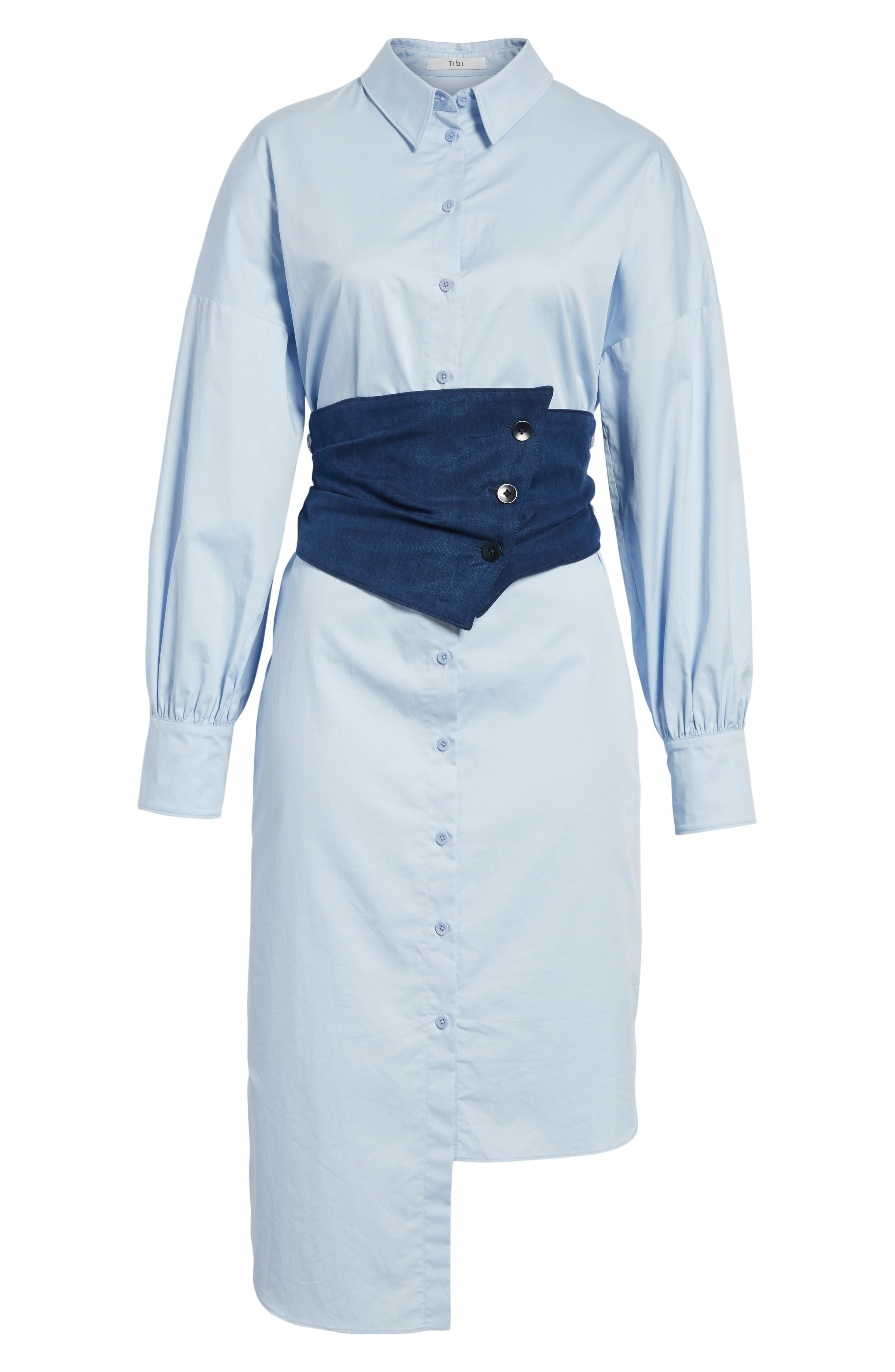 Corset Shirtdress,                             Alternate thumbnail 6, color,                             Morning Blue/ Navy Multi