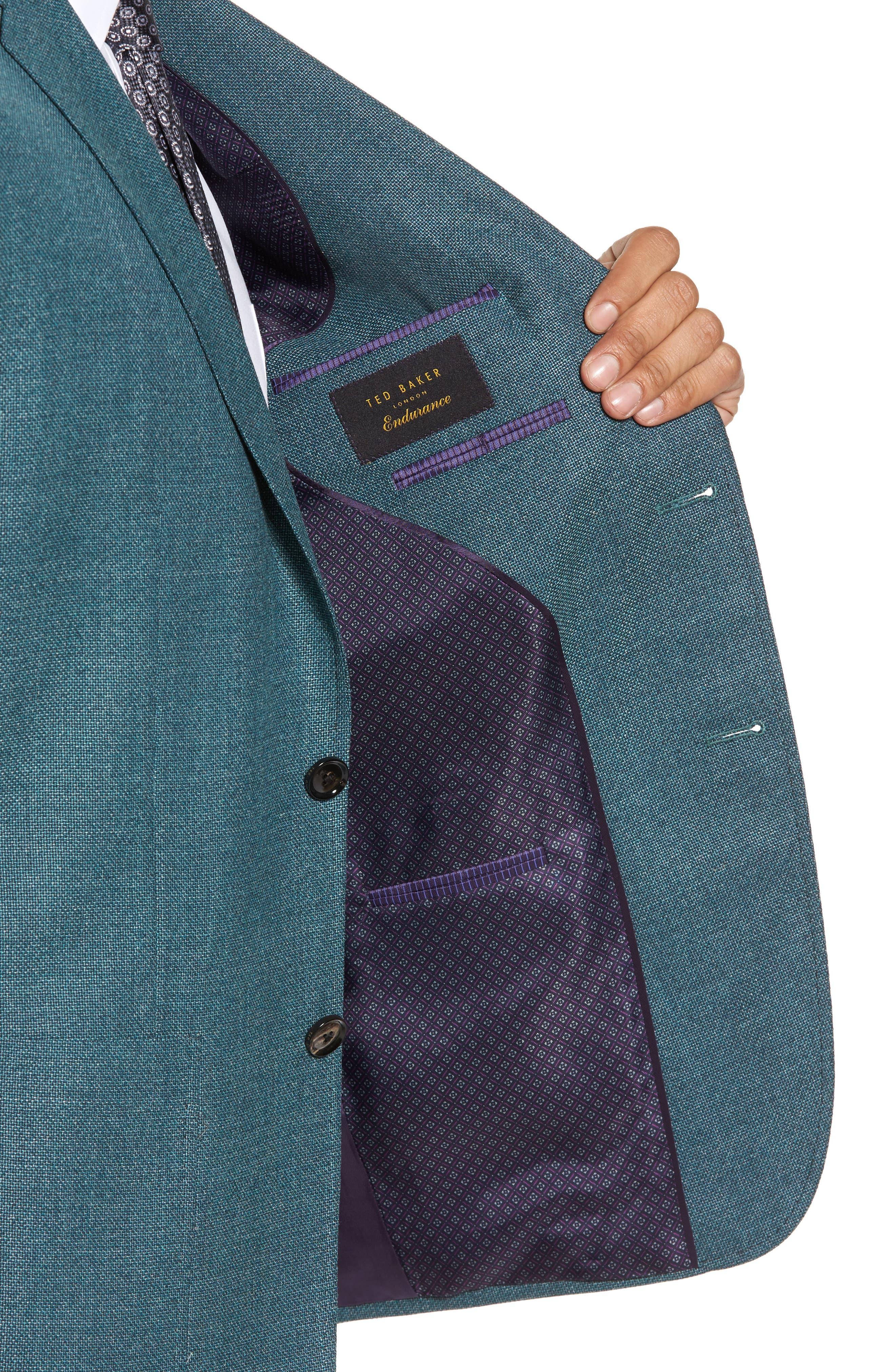 Kyle Trim Fit Wool Blazer,                             Alternate thumbnail 4, color,                             Teal Blue