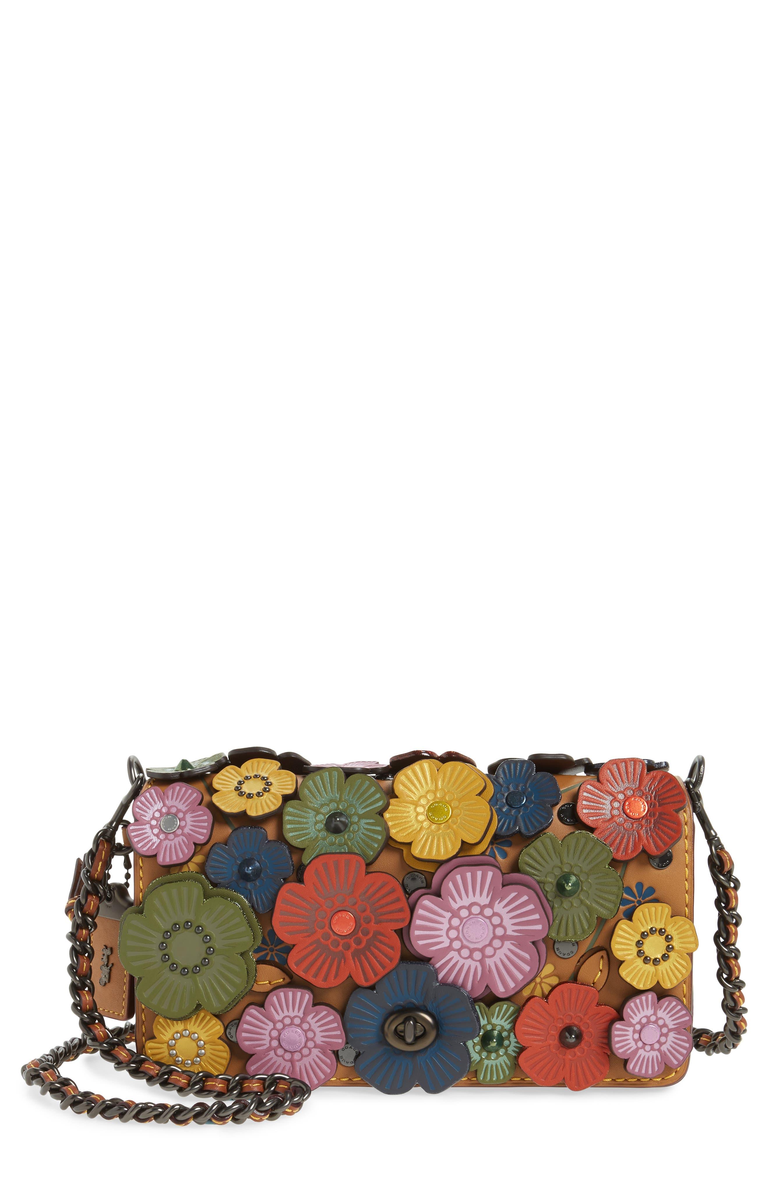 'Dinky' Flower Appliqué Leather Crossbody Bag,                             Main thumbnail 1, color,                             Rainbow