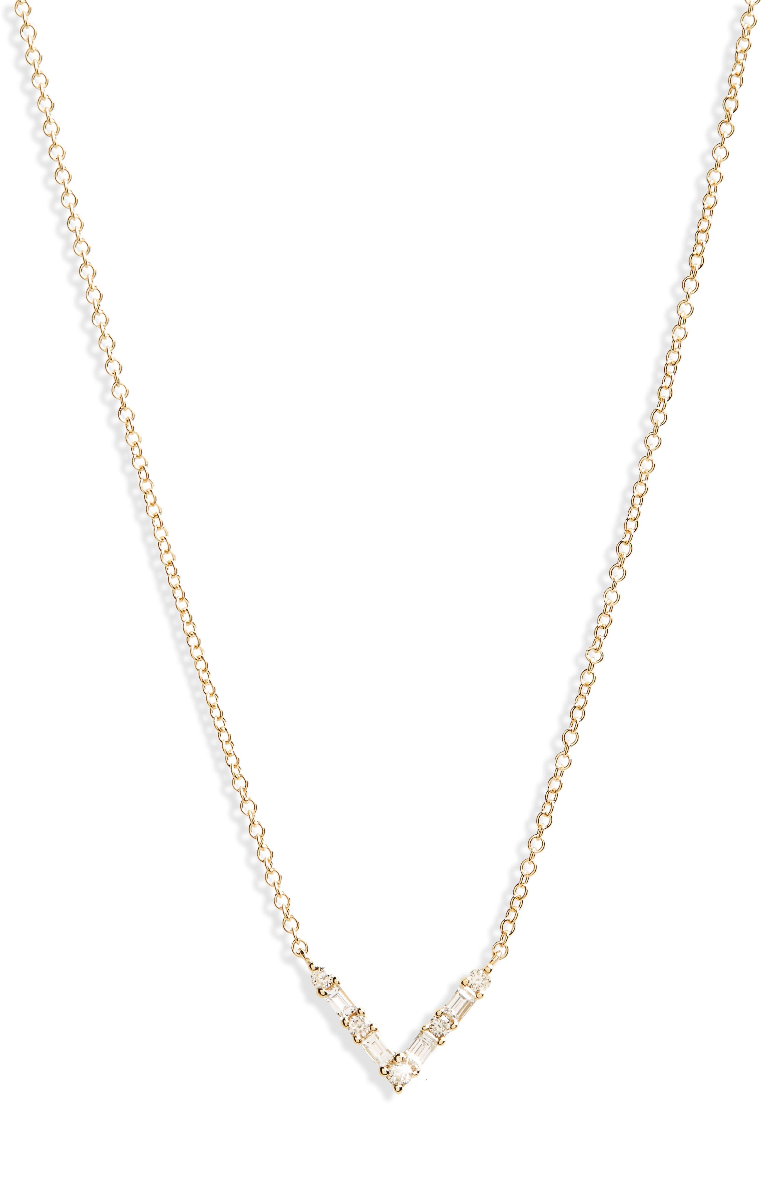 EF COLLECTION Diamond Baguette Pendant Necklace