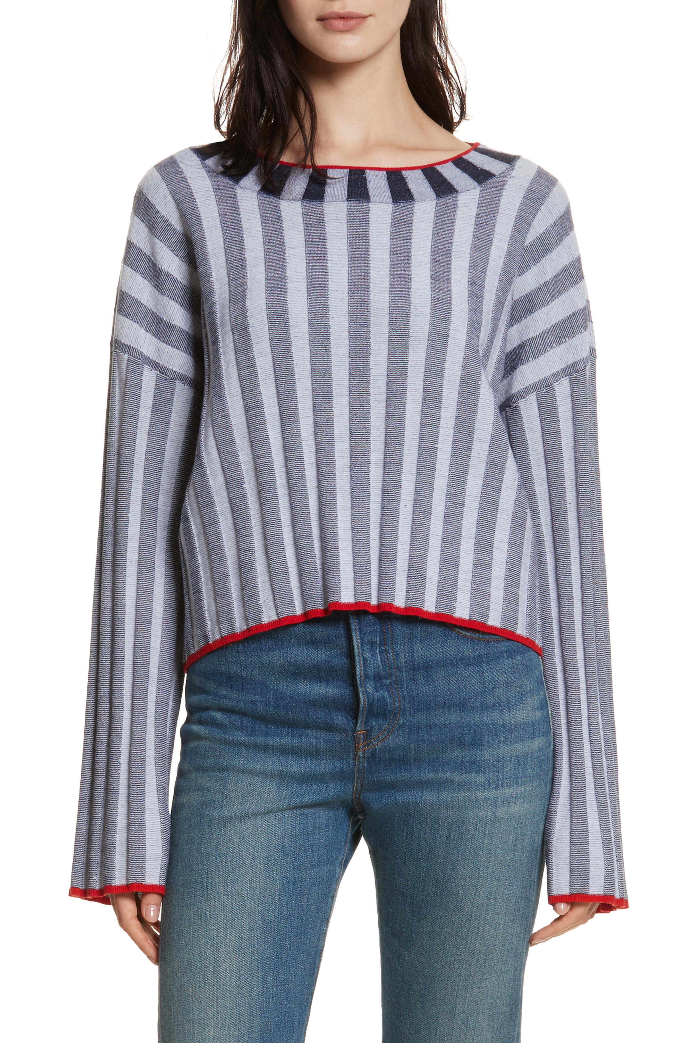 Campbell Stripe Merino Wool Blend Sweater,                             Main thumbnail 1, color,                             Navy/ Ivory