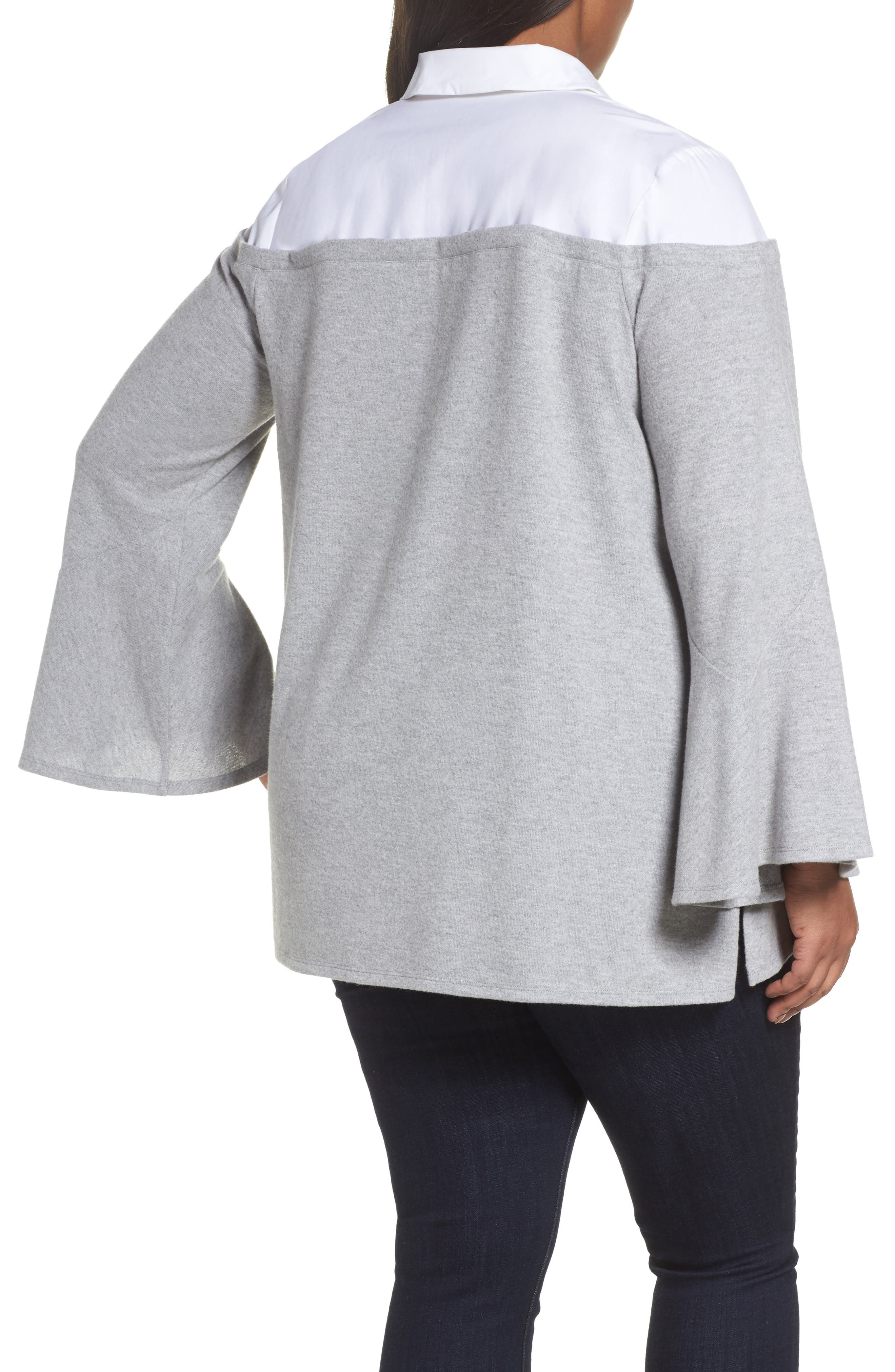 Bell Sleeve Mixed Media Top,                             Alternate thumbnail 2, color,                             Light Heather Grey