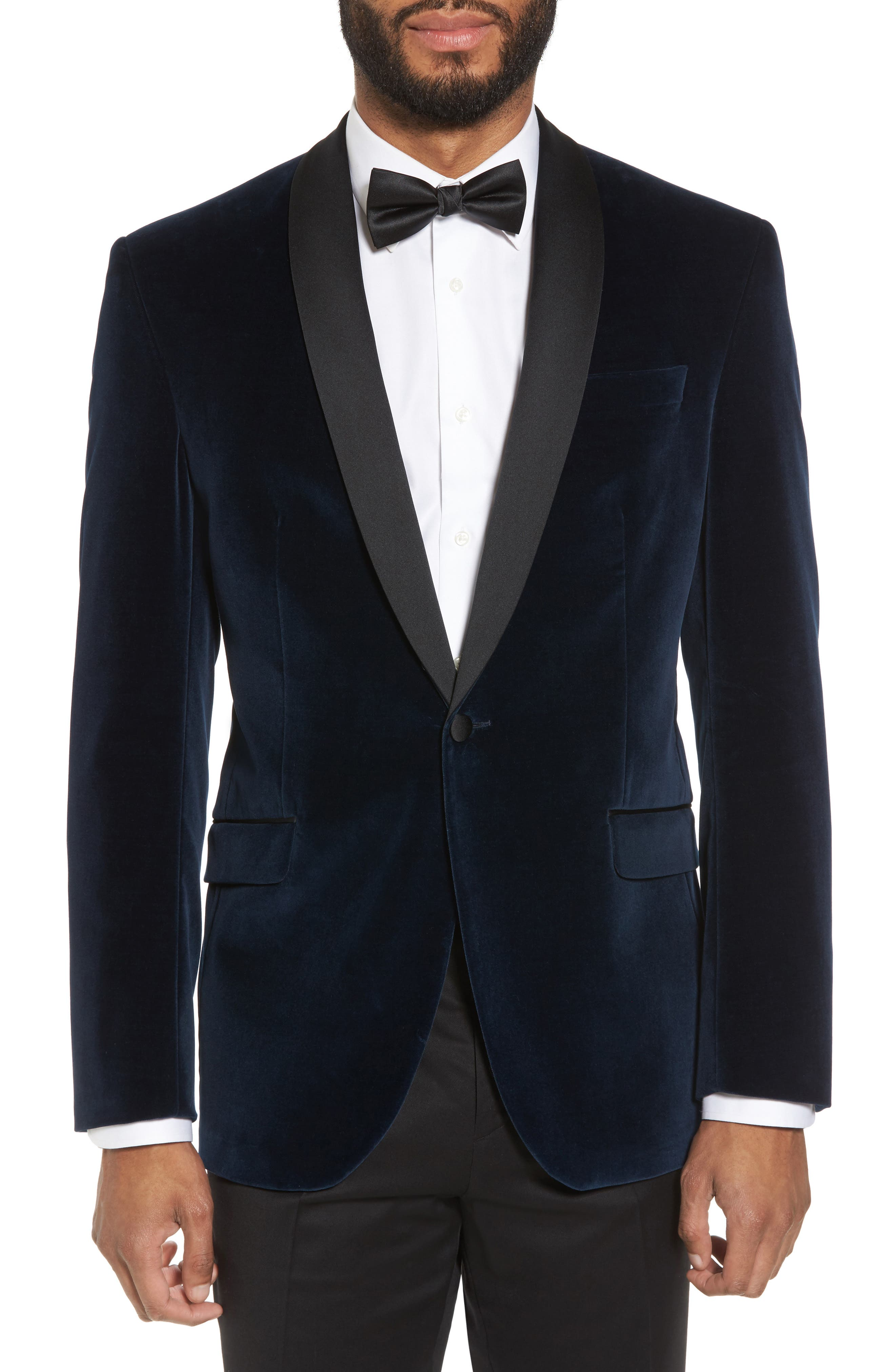 Ted Baker London Josh Trim Fit Stretch Velvet Dinner Jacket