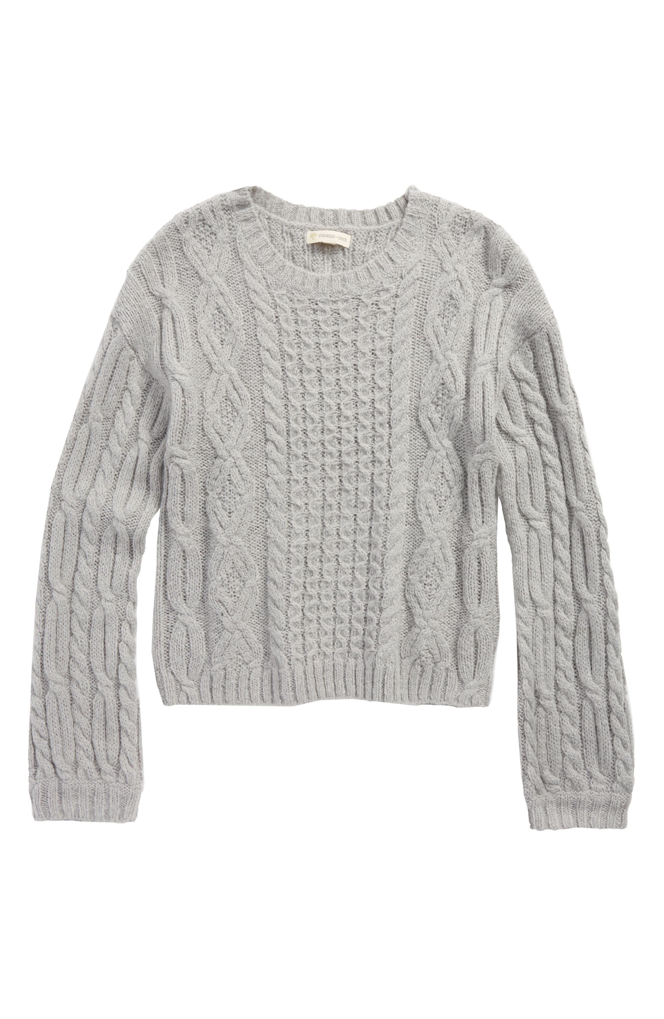 Cable Sweater,                         Main,                         color, Grey Alloy