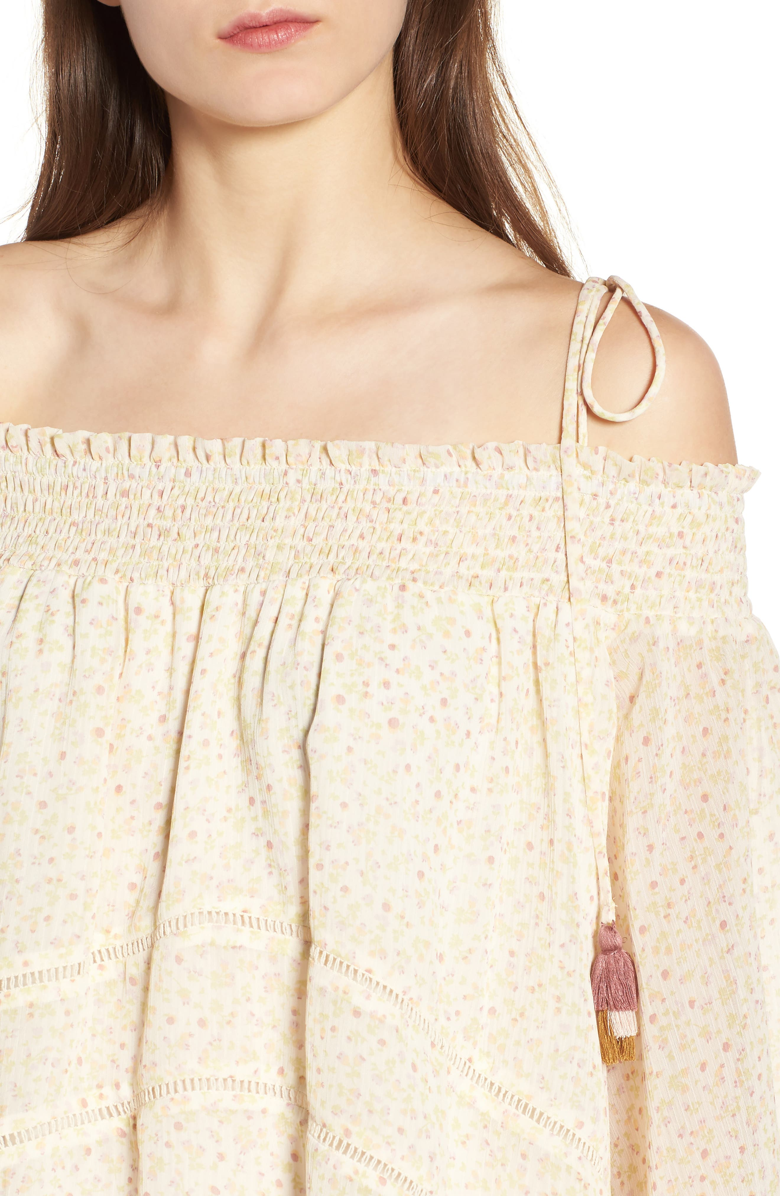 Casey Off the Shoulder Top,                             Alternate thumbnail 4, color,                             Off White