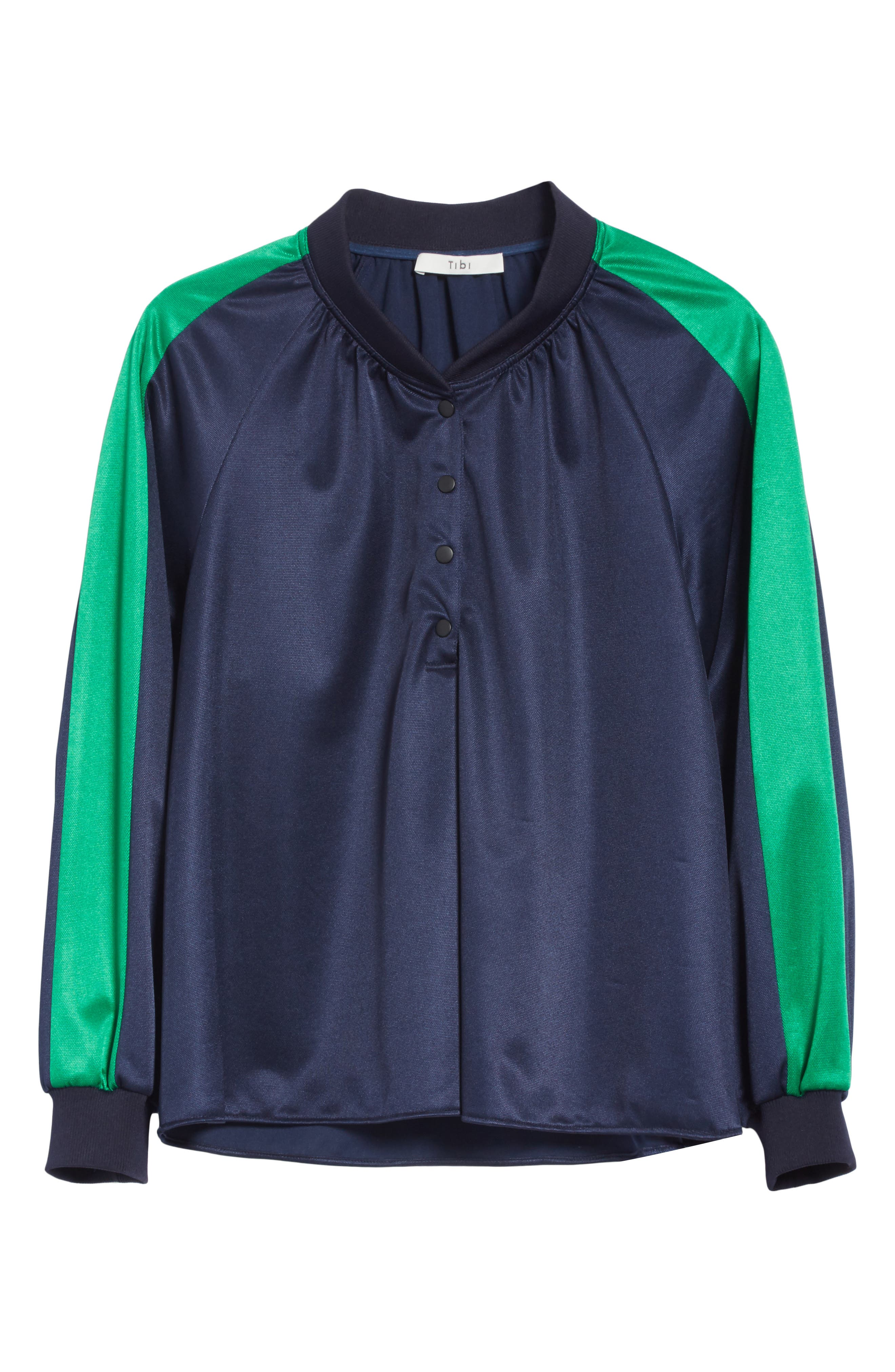 Pullover Track Jacket,                             Alternate thumbnail 6, color,                             Navy/ Green Multi
